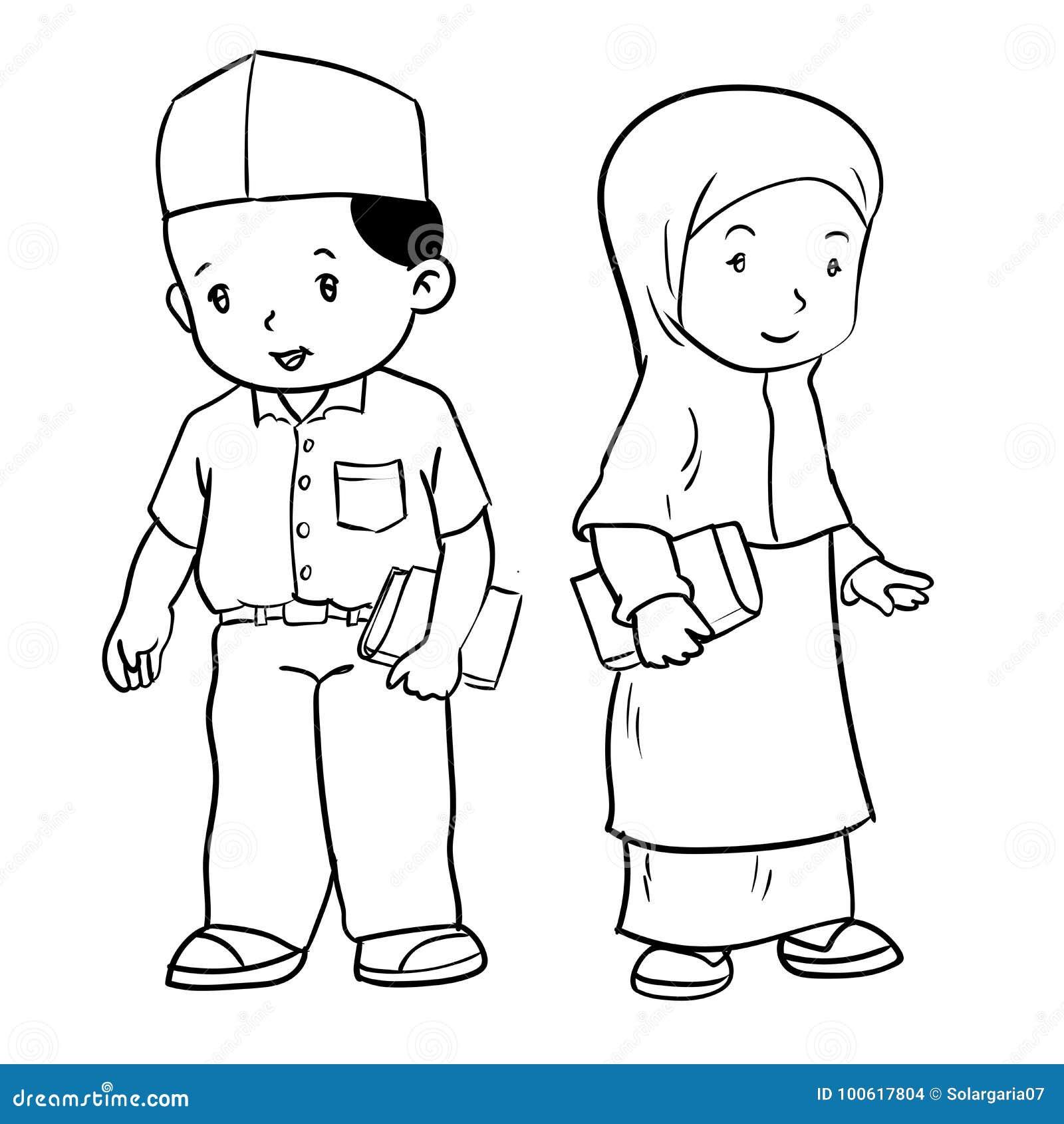 Coloring pages of children wearing afo ~ Illustrazione Musulmana Di Studente-vettore Del Disegno ...