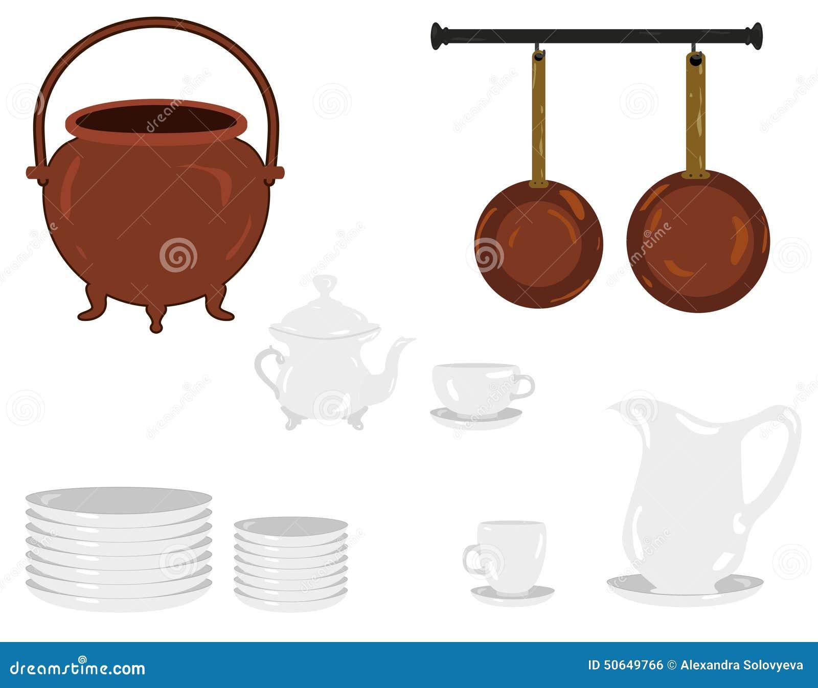 Illustrazione Oggetti Tradizionali Di Vecchi Di Una Cucina ...