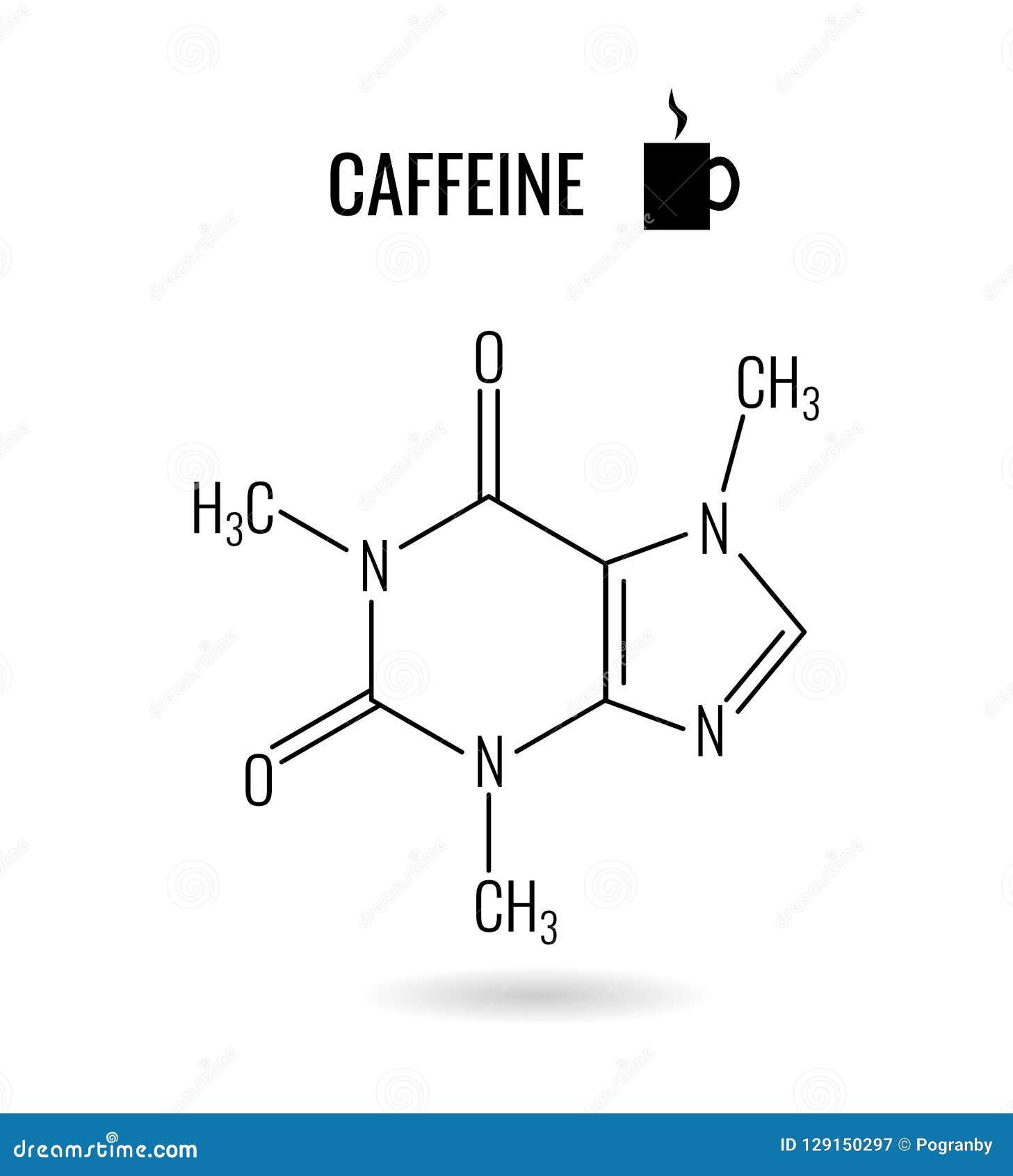 Illustrazione organica di chimica della molecola della caffeina