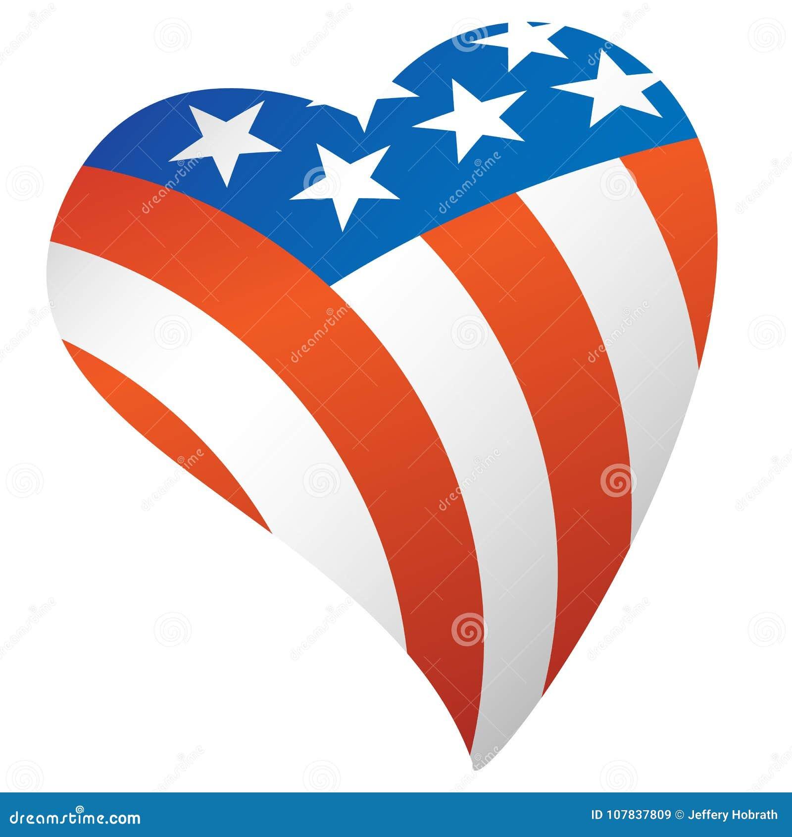 Illustrazione patriottica di vettore del cuore di U.S.A. della bandiera americana