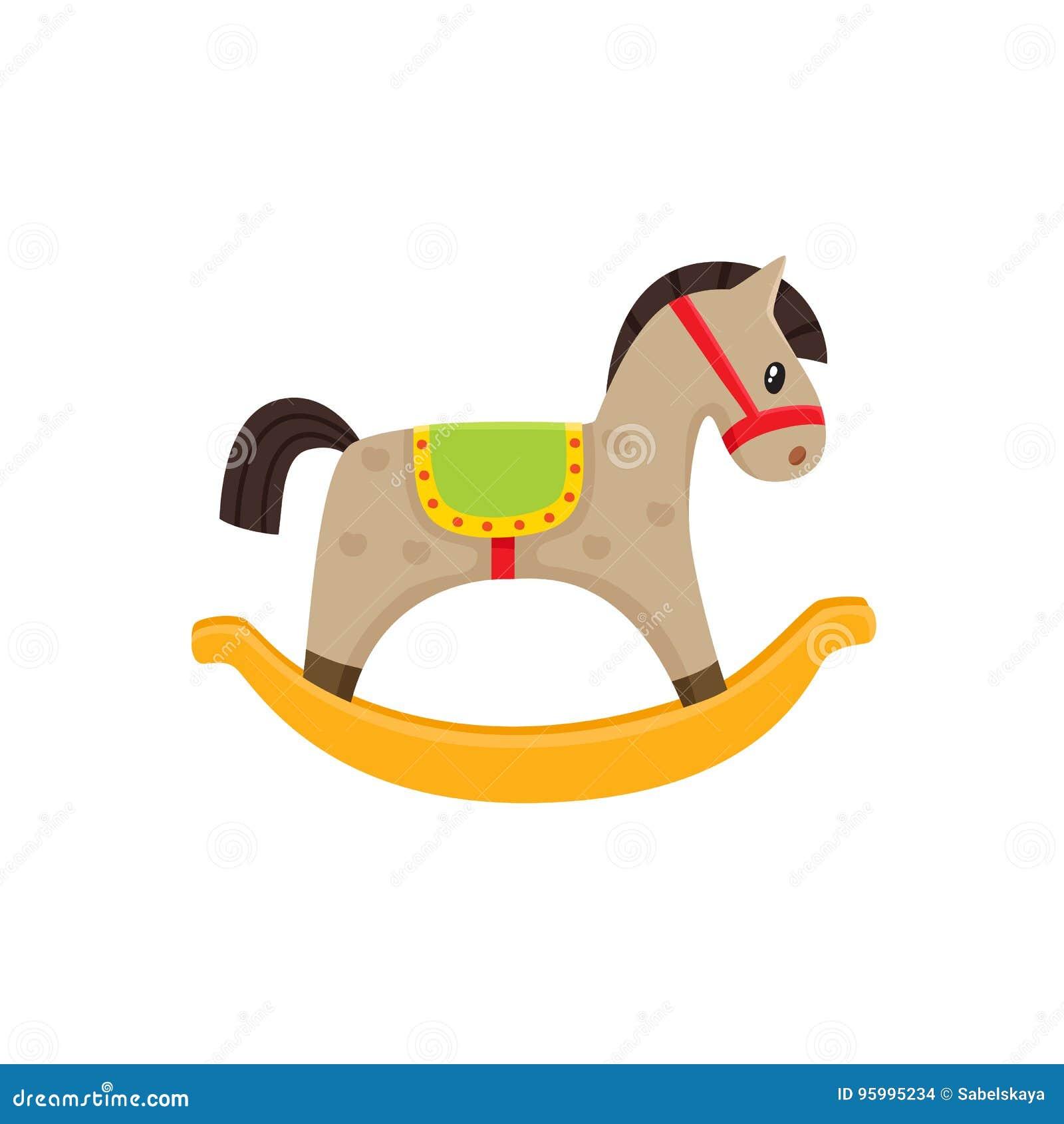 Cavallo Di Legno Giocattolo.Illustrazione Piana Del Giocattolo Di Legno Del Cavallo A