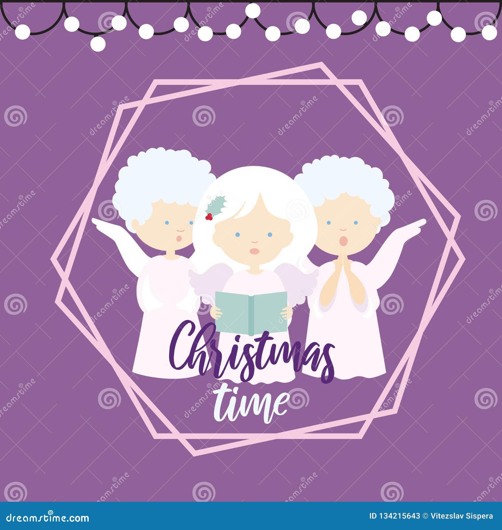 Illustrazione piana di progettazione di una cartolina d auguri di Natale con tre angeli che cantano i canti natalizii su un fondo