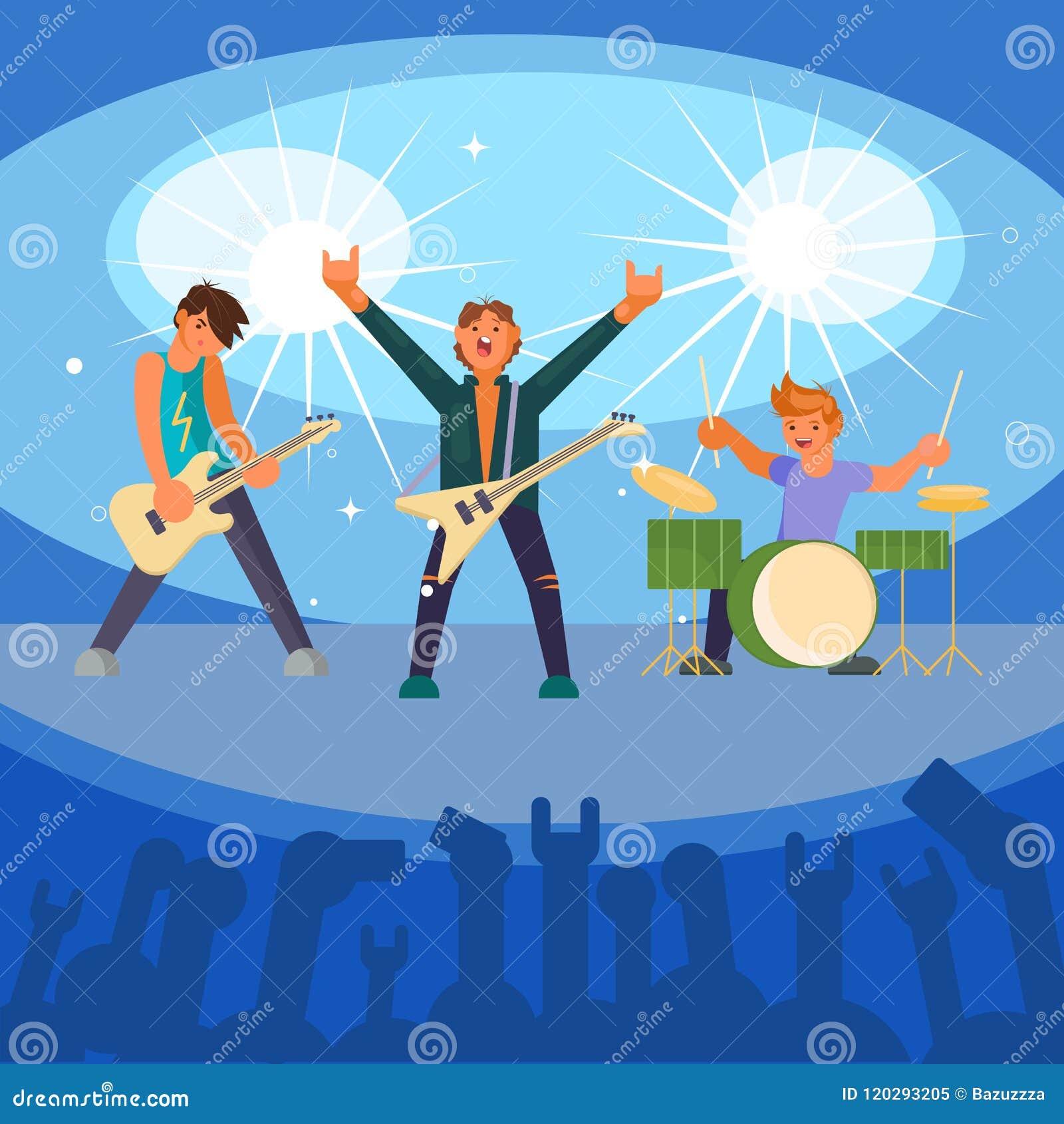 Illustrazione piana di vettore di concerto della banda rock