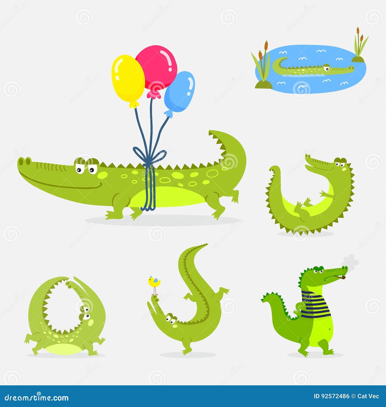 Illustrazione piana di vettore del coccodrillo del fumetto della fauna selvatica del fiume dell alligatore australiano predatore