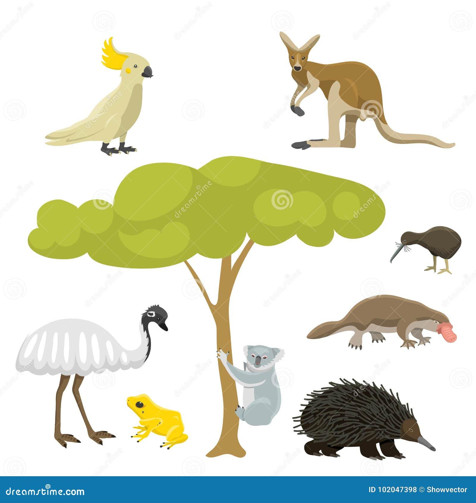 Illustrazione piana di vettore della raccolta del mammifero di stile dei caratteri popolari della natura del fumetto degli animal