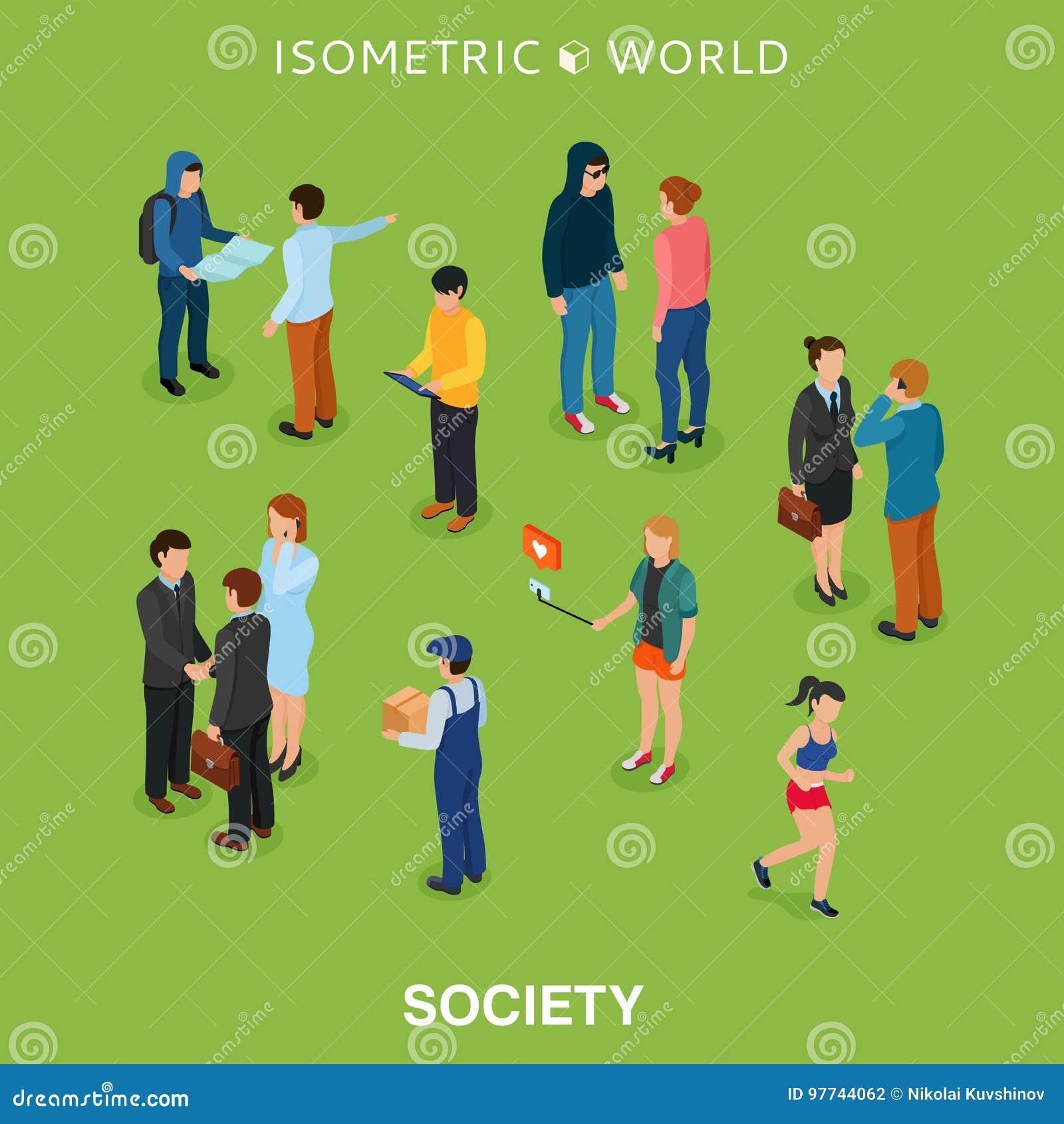 Illustrazione piana isometrica di vettore della folla della gente Supporto differente della donna e dell uomo, conversazione, tel