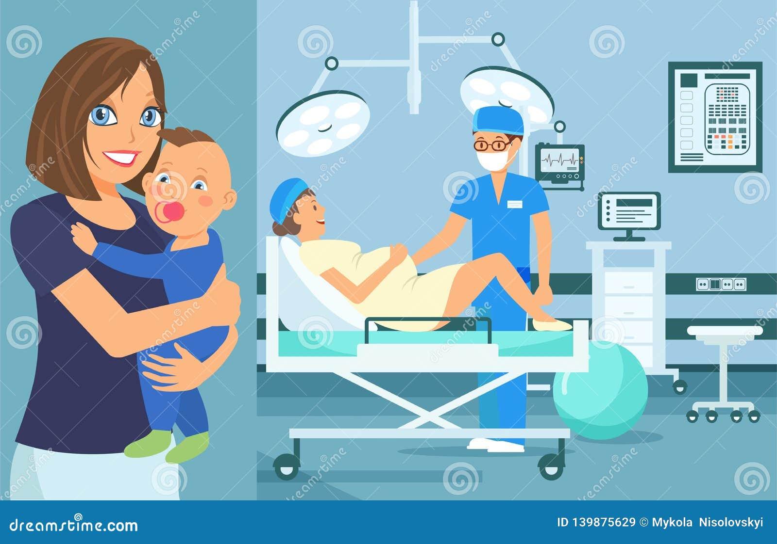 Illustrazione piana prenatale di vettore di controllo medico