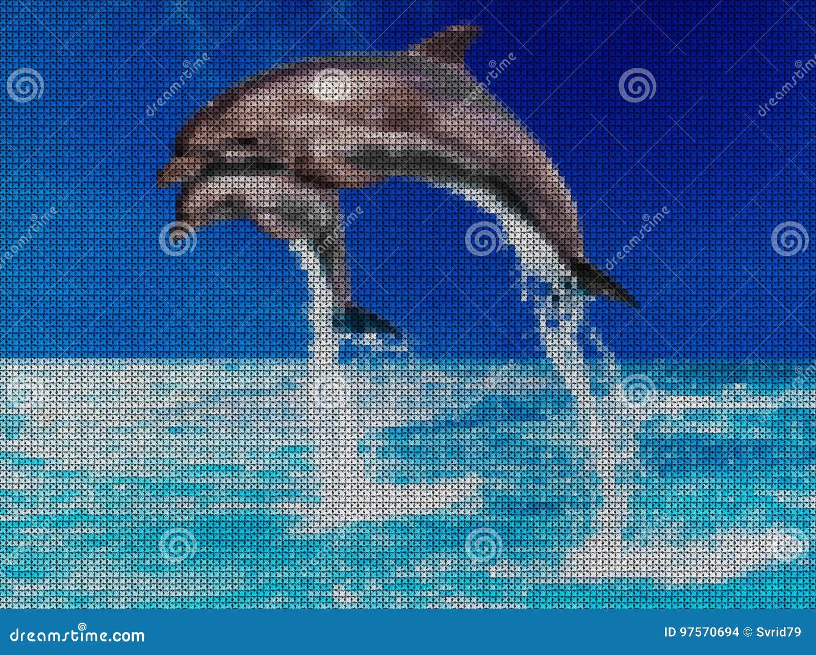 Illustrazione Punto Croce Delfini Nel Mare Illustrazione Di Stock