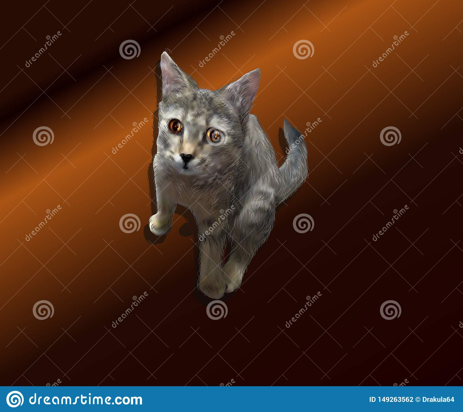Illustrazione realistica di un gattino su un fondo marrone