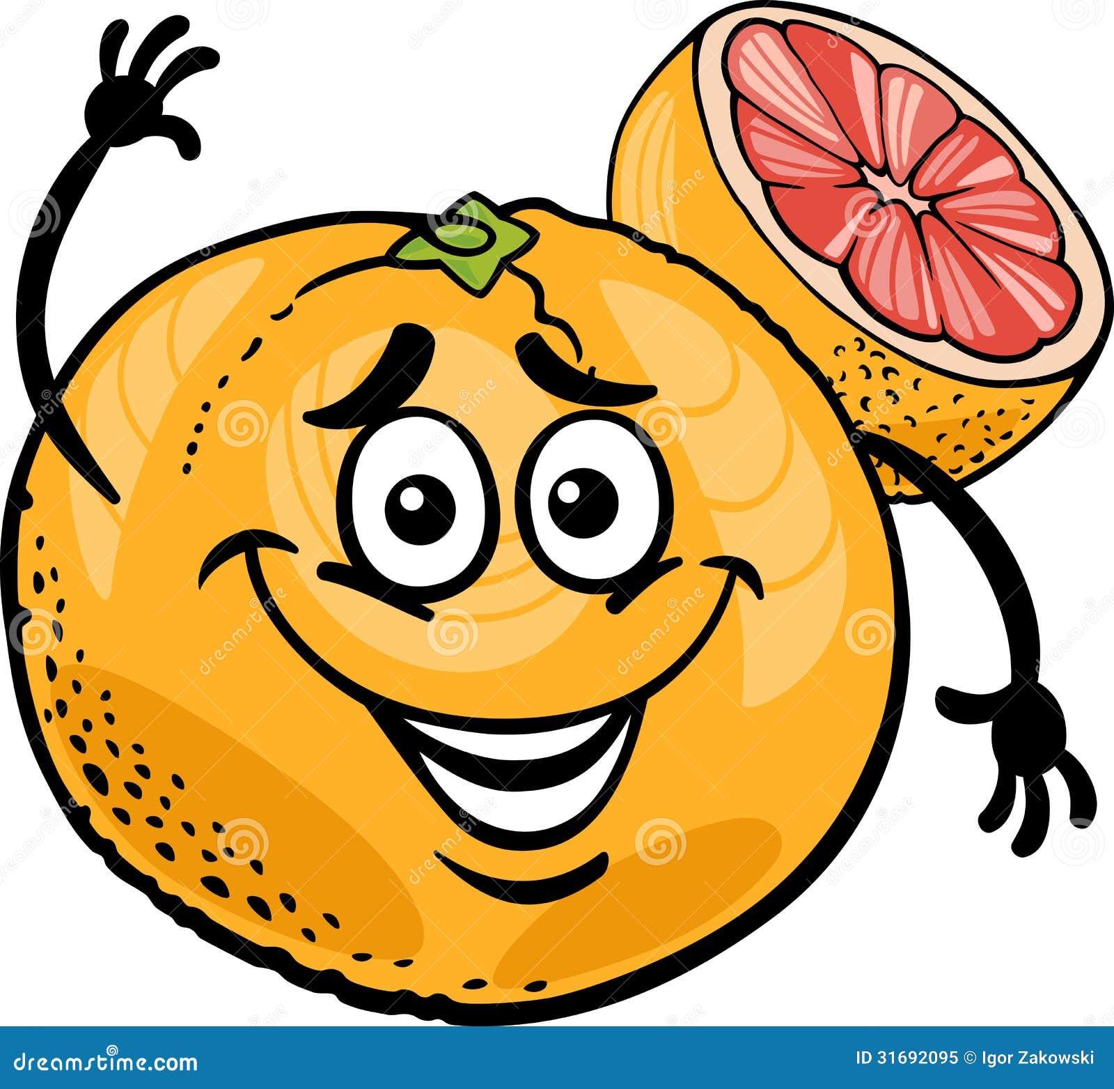 Illustrazione rossa del fumetto della frutta pompelmo
