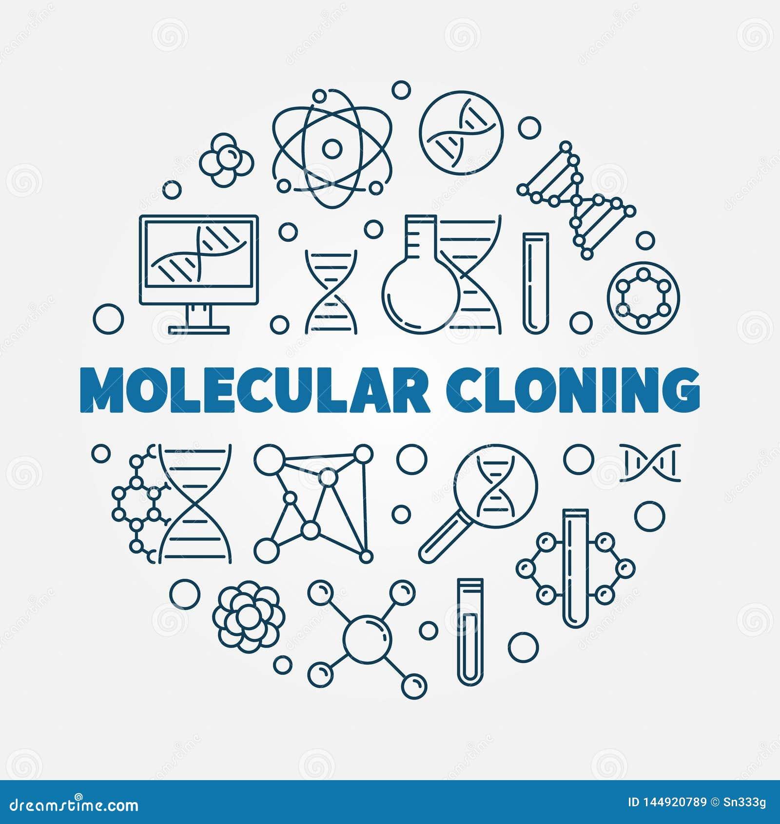 Illustrazione rotonda del profilo di vettore di clonazione molecolare