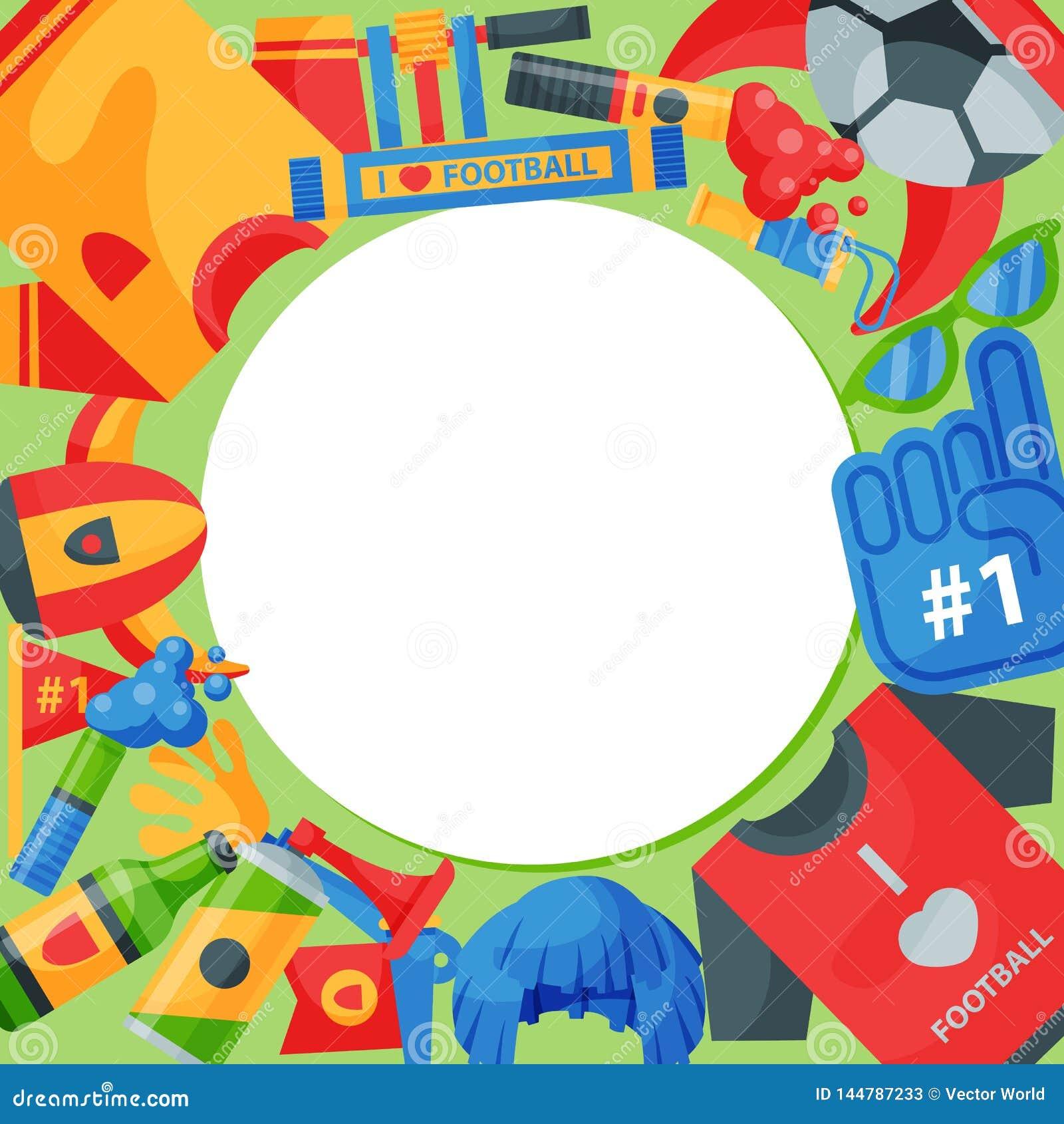 Illustrazione rotonda di vettore del modello del sostenitore della squadra di football americano Attributo del tifoso di calcio,