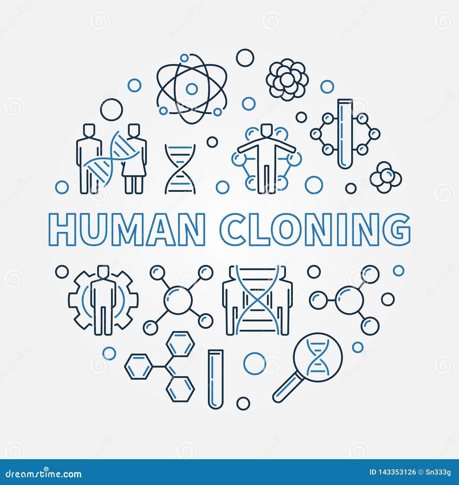 Illustrazione rotonda di vettore della clonazione umana nello stile del profilo