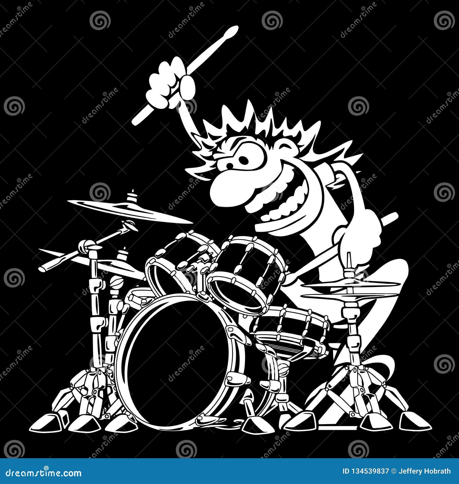 Illustrazione selvaggia di vettore del fumetto di Playing Drum Set del batterista