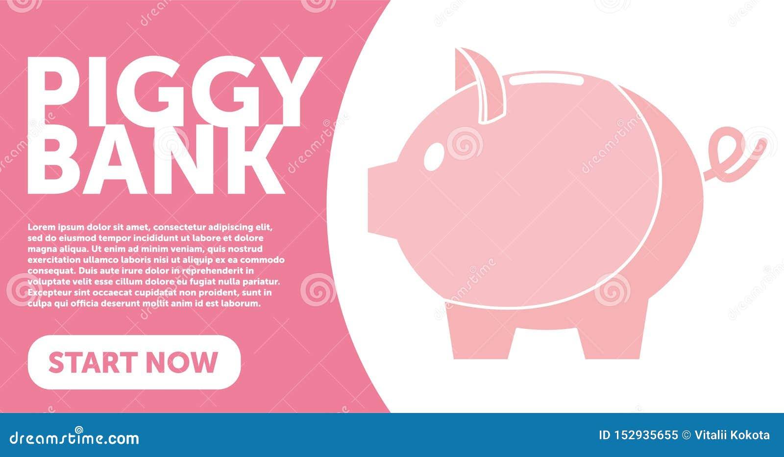 Illustrazione semplice di vettore del porcellino salvadanaio nello stile piano di linework Modello della pagina Web PORCELLINO SA