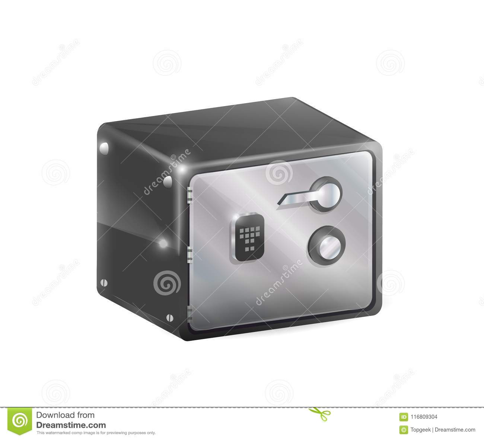 Illustrazione sicura di vettore della cassaforte del metallo isolata