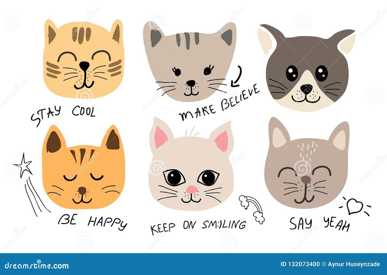 Illustrazione sveglia dell insieme del gatto con le iscrizioni per tessuto, maglietta, carte