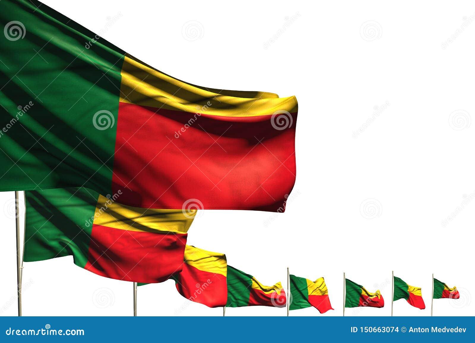 Illustrazione sveglia della bandiera 3d di Giorno dei Caduti - molte bandiere del Benin hanno disposto la diagonale isolata su bi