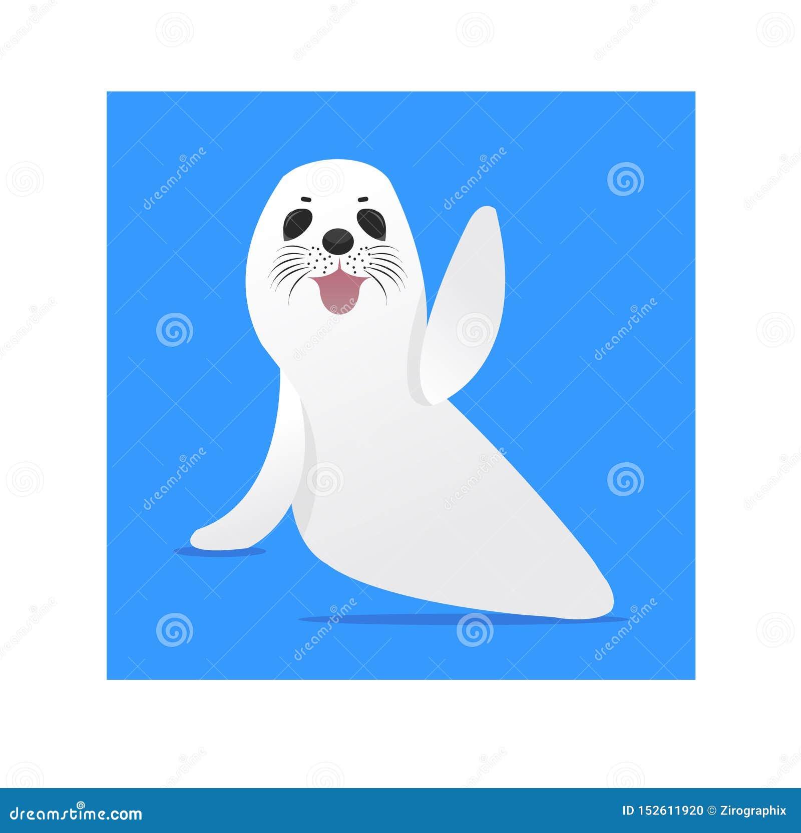Illustrazione sveglia della foca della Groenlandia con fondo blu