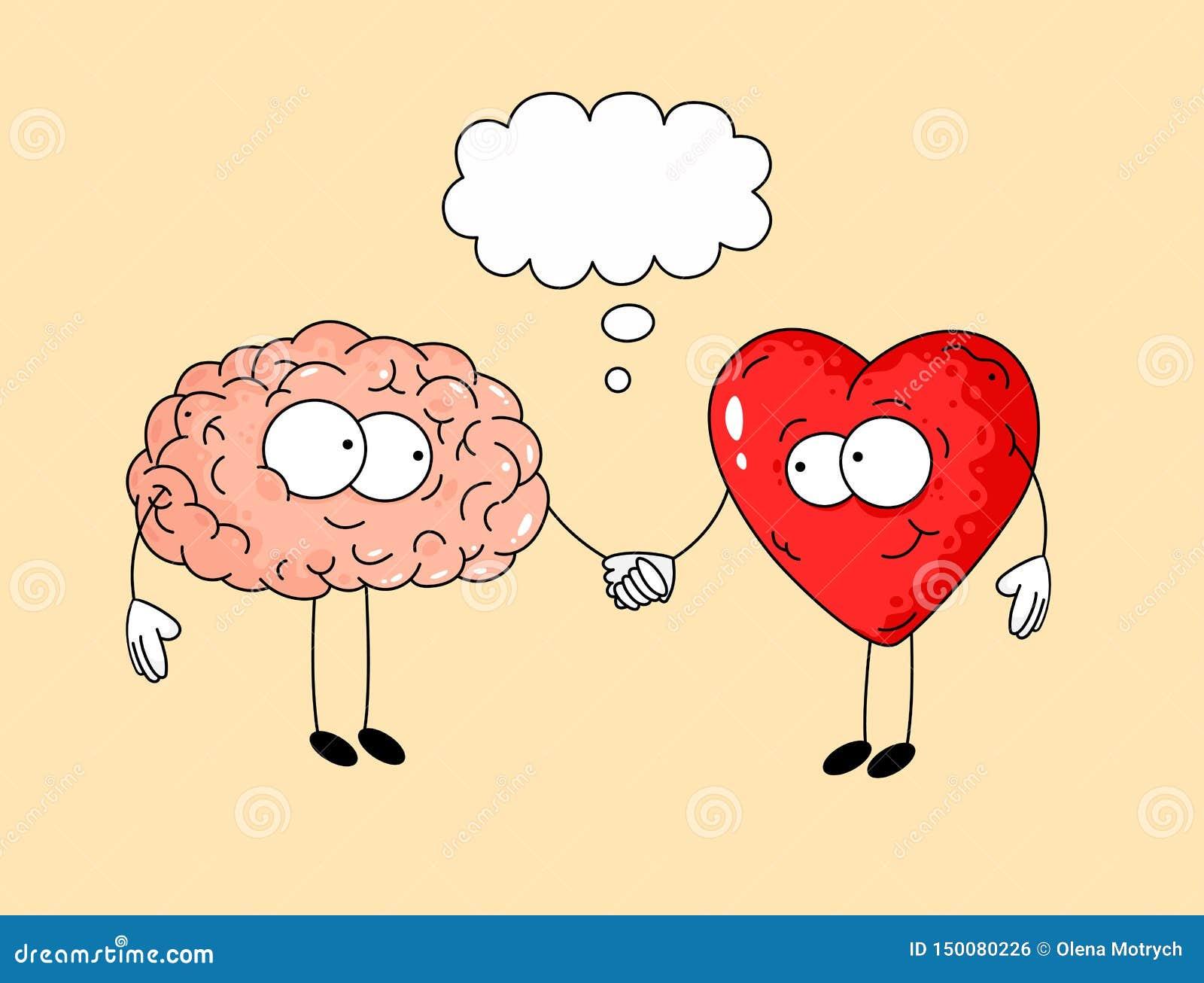 Illustrazione sveglia di cervello umano e di cuore