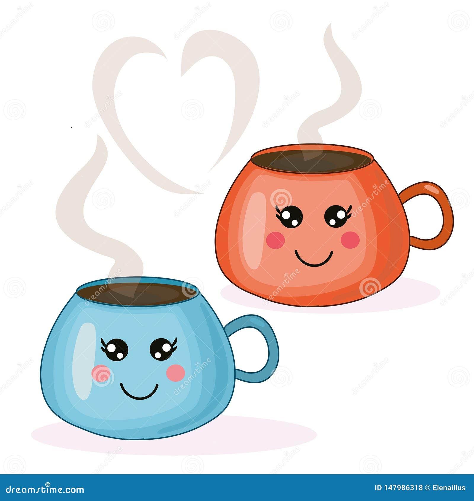 Illustrazione sveglia di kawaii di vettore con le tazze di caffè blu ed arancio