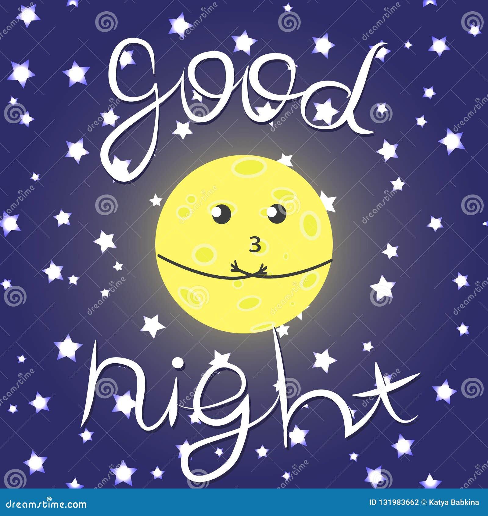 Illustrazione Sveglia Di Vettore Con La Luna Le Stelle E L