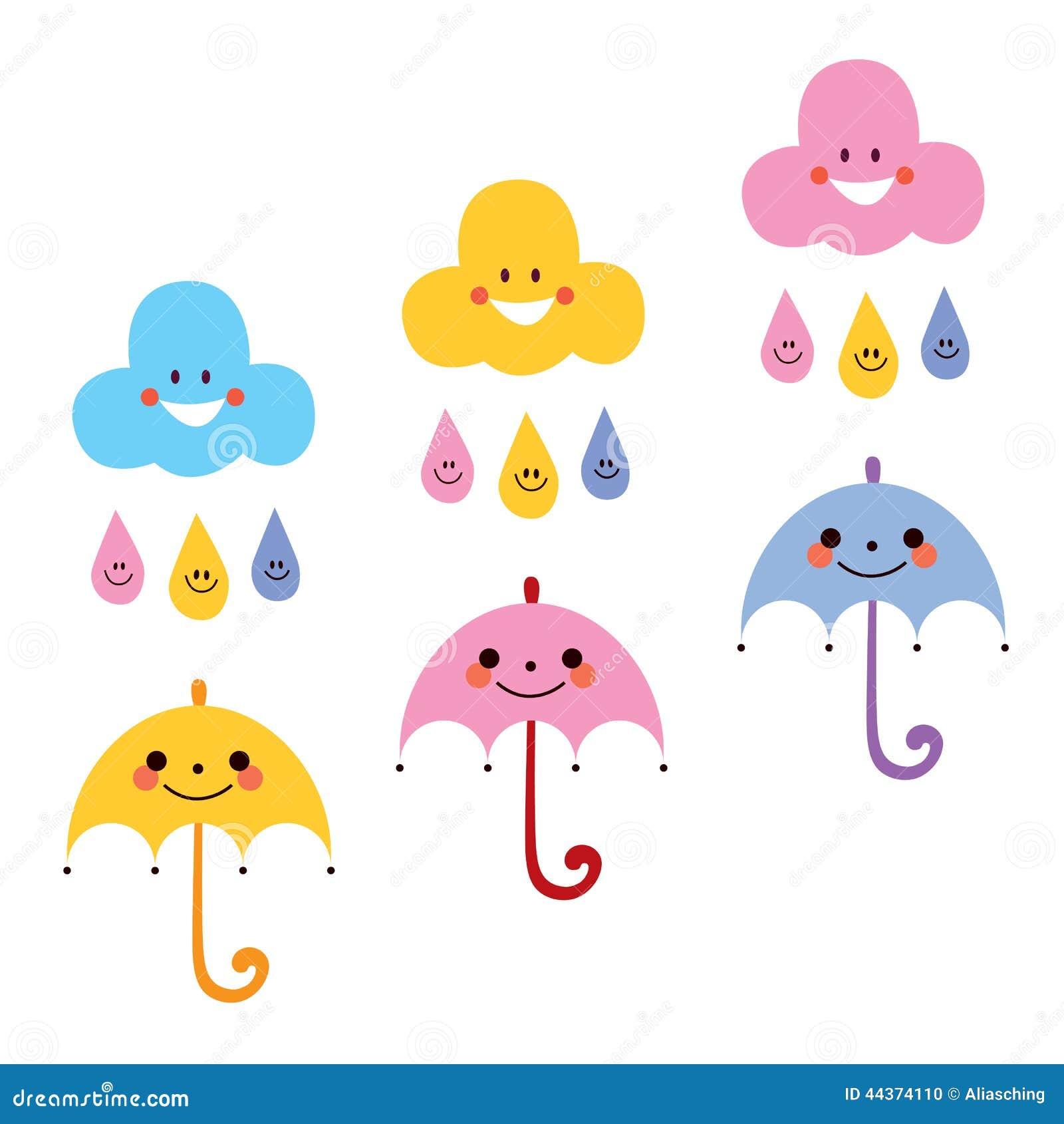 Illustrazione sveglia di vettore dei caratteri delle nuvole delle gocce di pioggia degli ombrelli