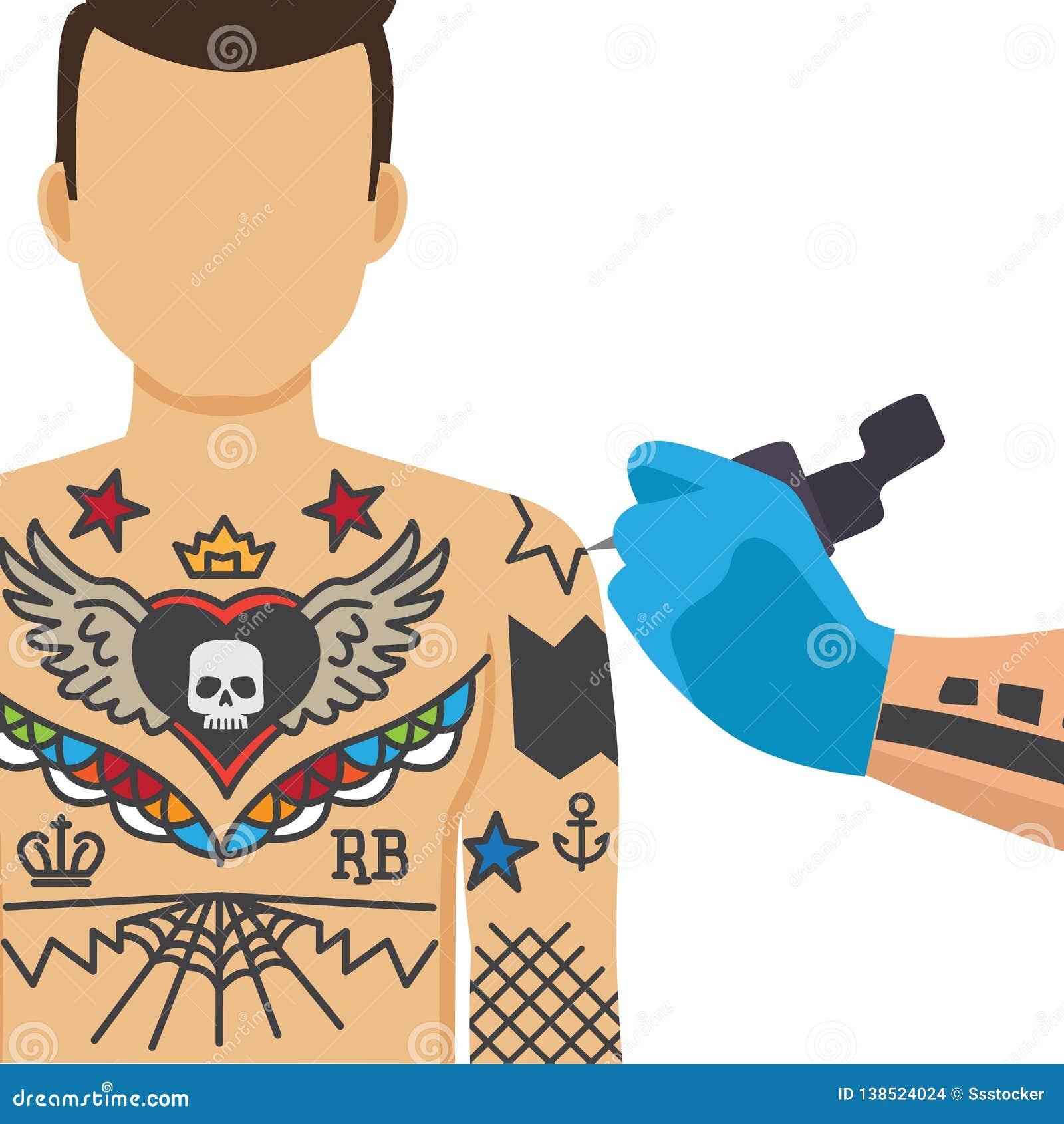 Illustrazione trattata tatuante