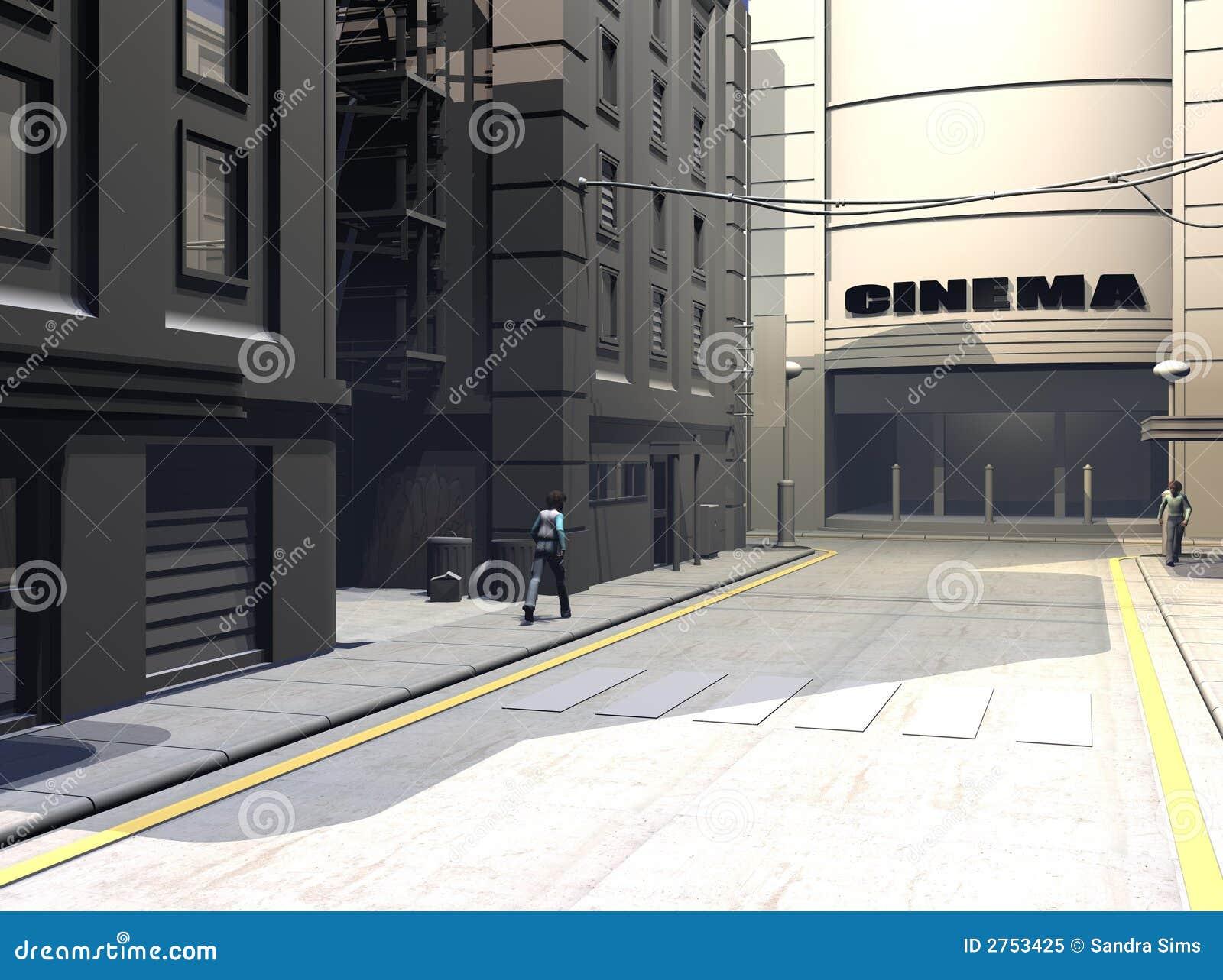 Illustrazione urbana della via
