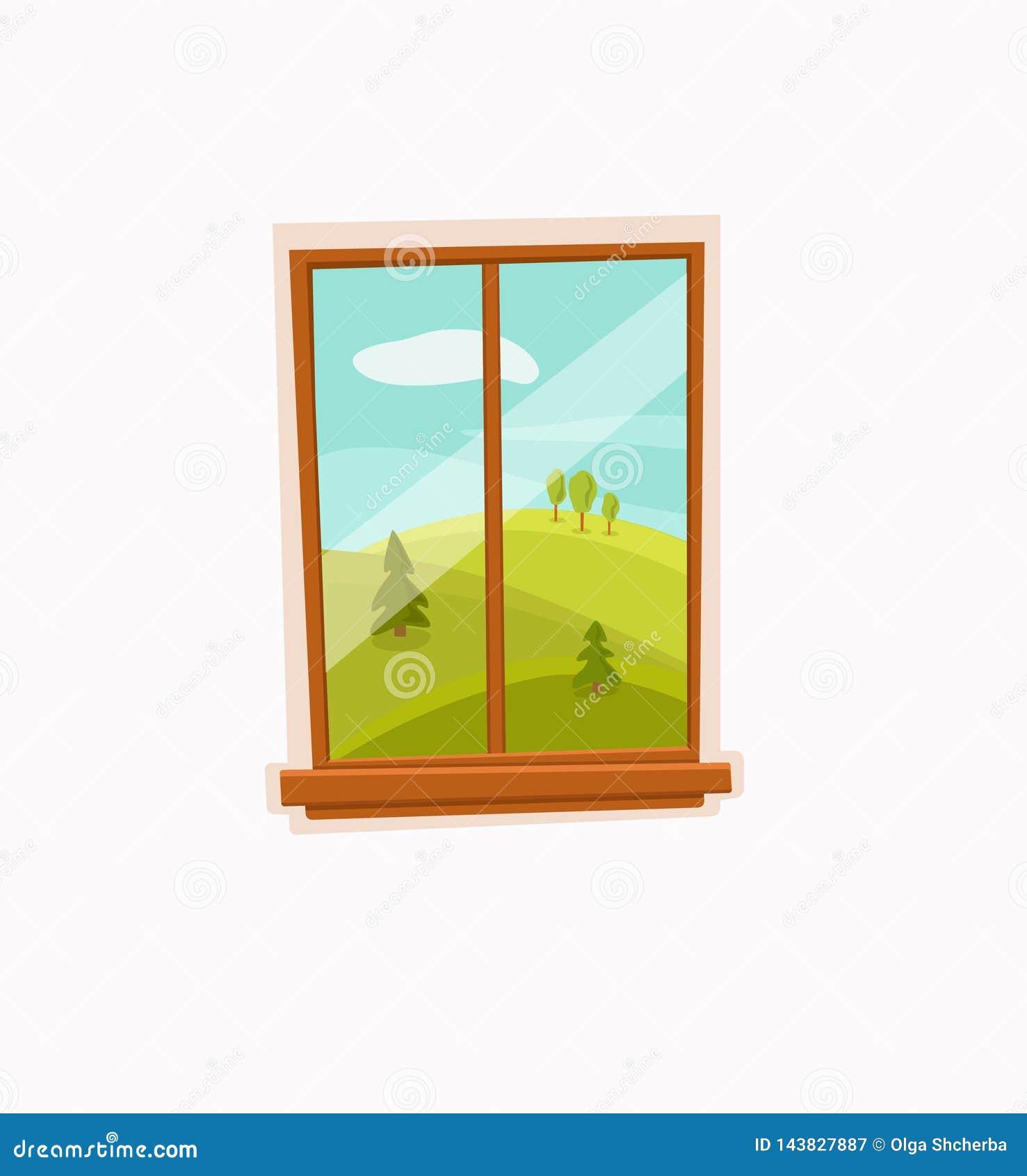 Illustrazione variopinta di vettore del fumetto della finestra con il paesaggio del sole di estate della valle