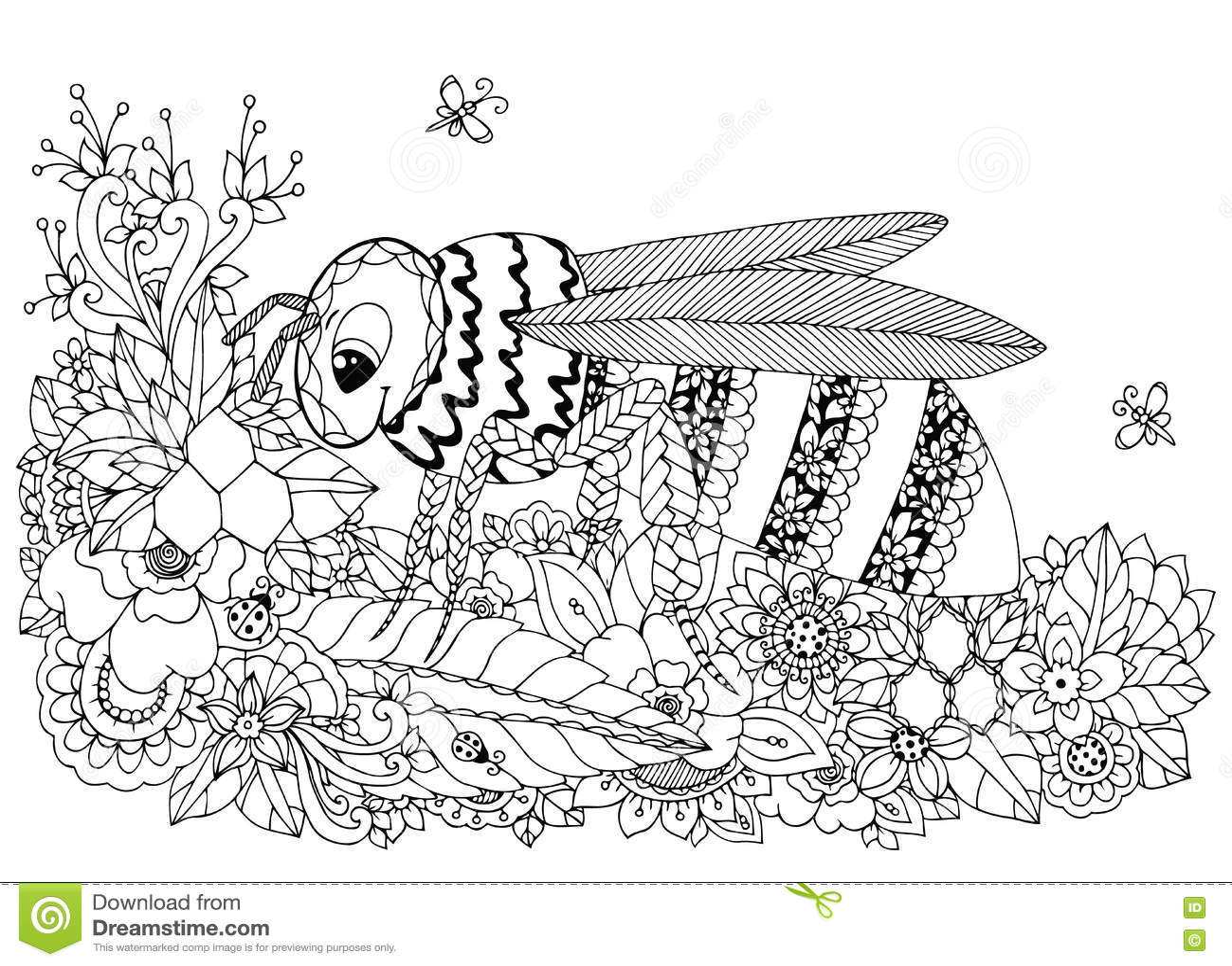 Illustrazione Zen Tangle Di Vettore Vespa E Fiori Disegno Di