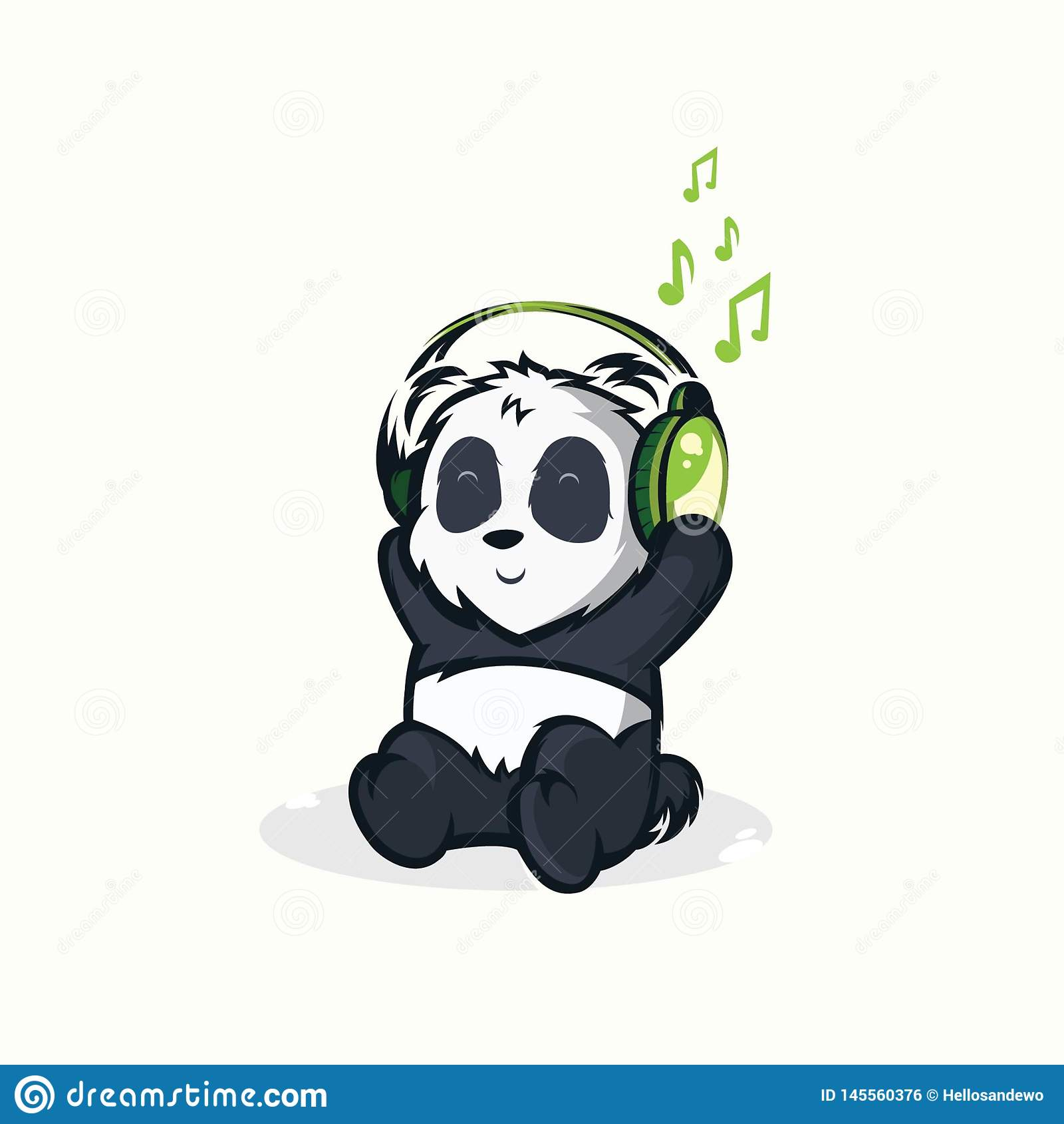 Illustrazioni dei panda divertenti che ascoltano la musica