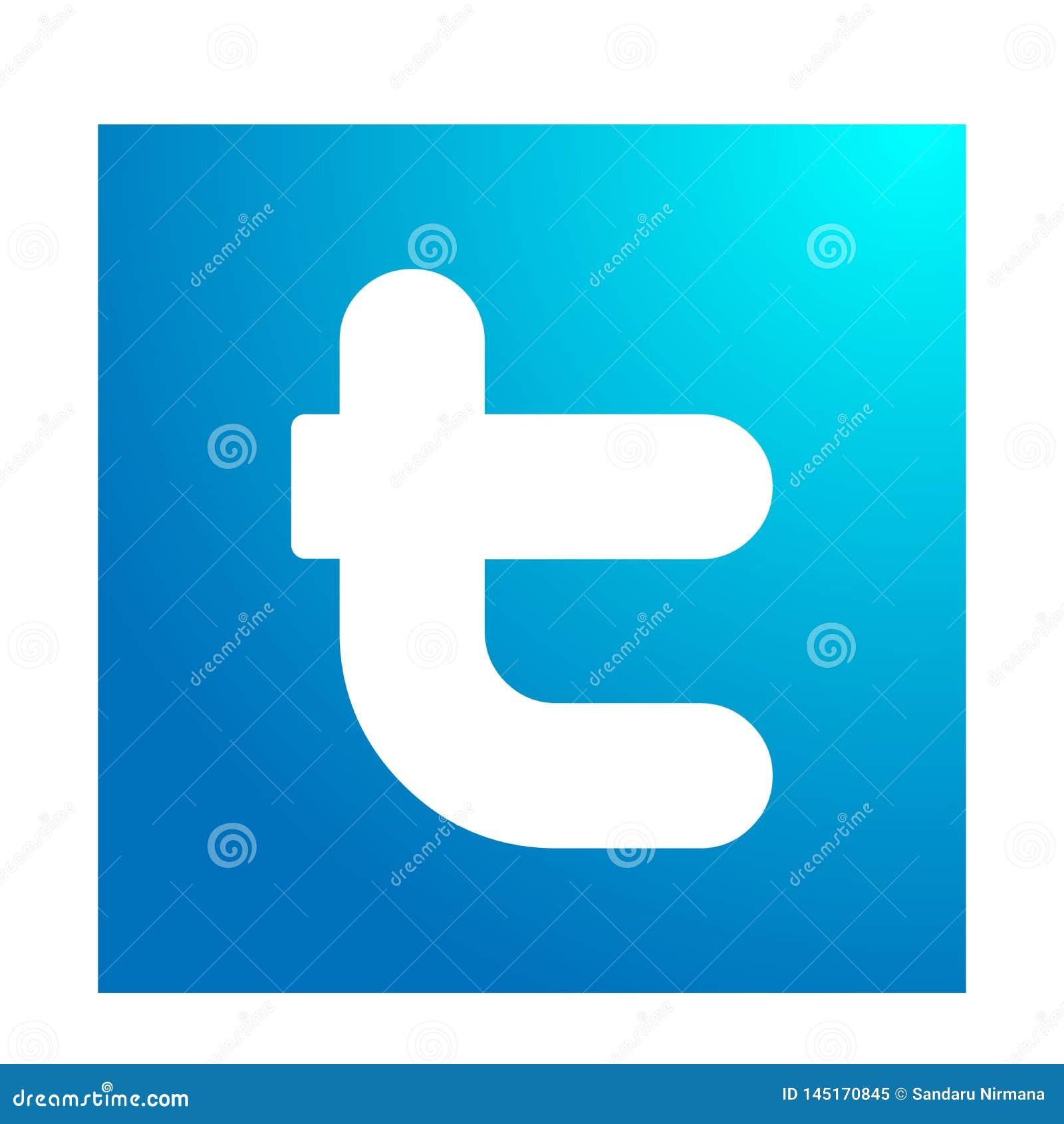Illustrazioni di vettore dell icona di logo di Twitter su fondo bianco