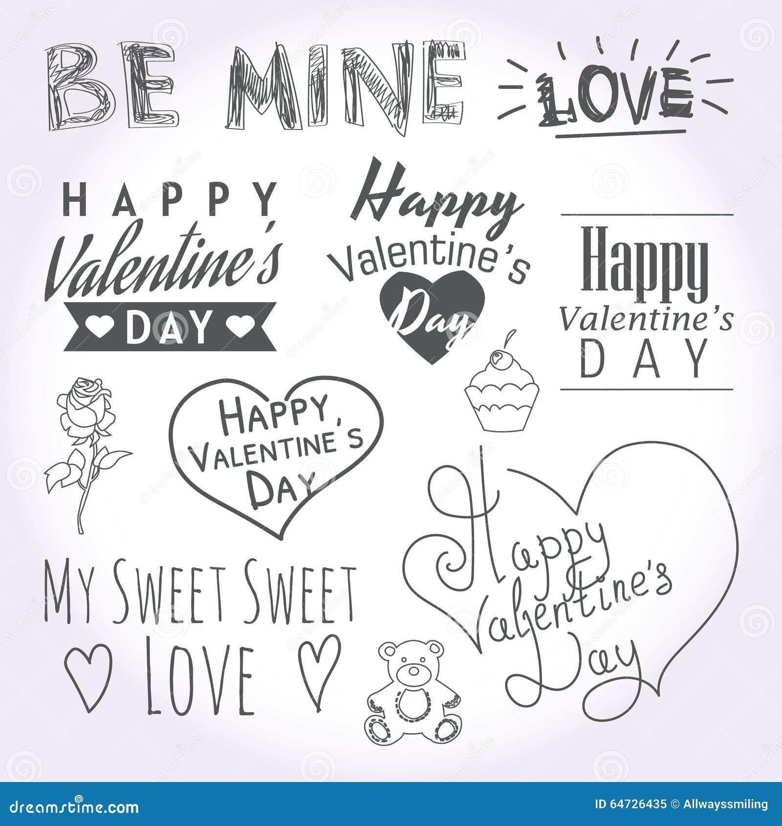Illustrazioni e tipografia di giorno di biglietti di S. Valentino