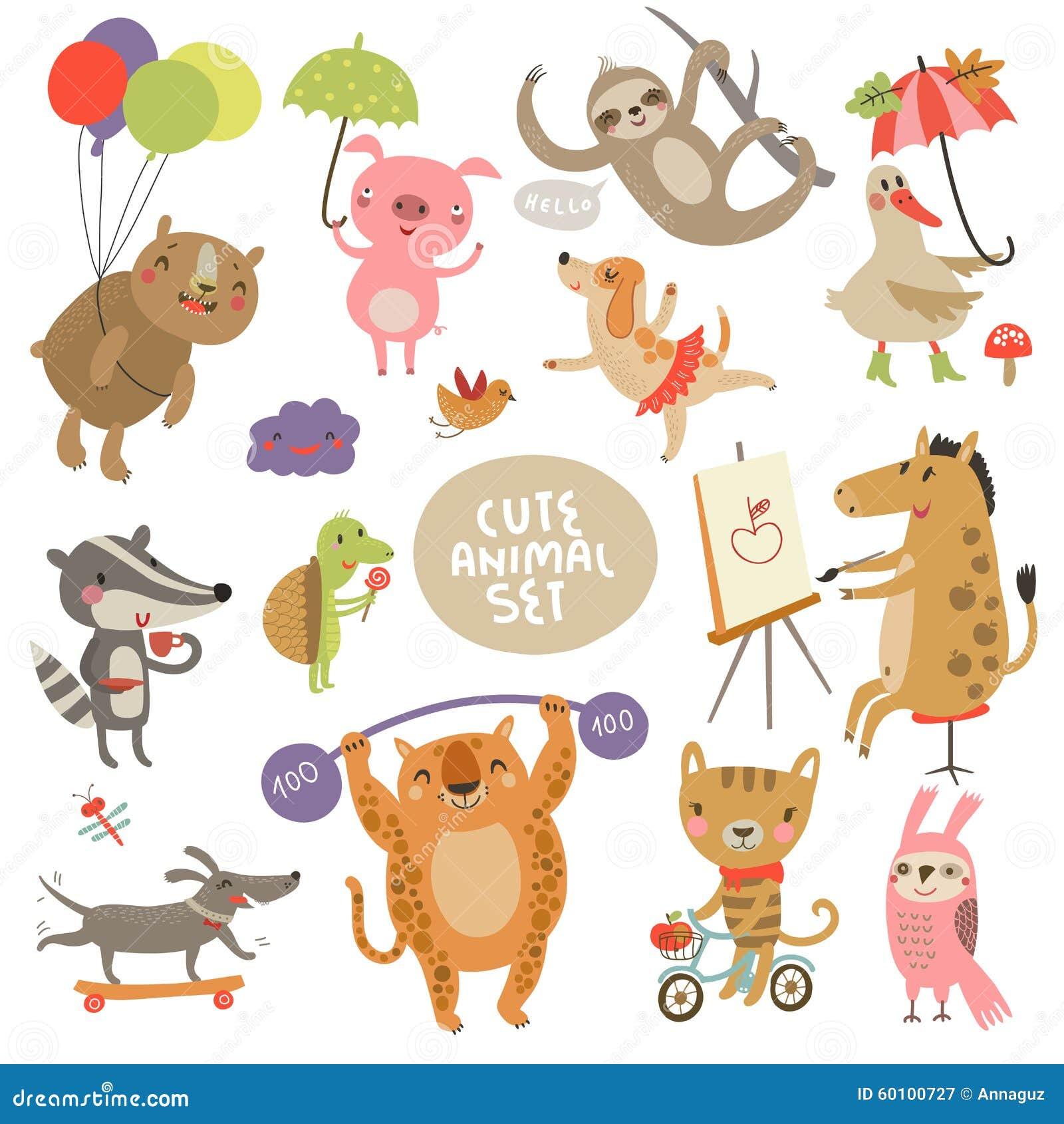 Illustrazioni stabilite dell animale sveglio con i caratteri