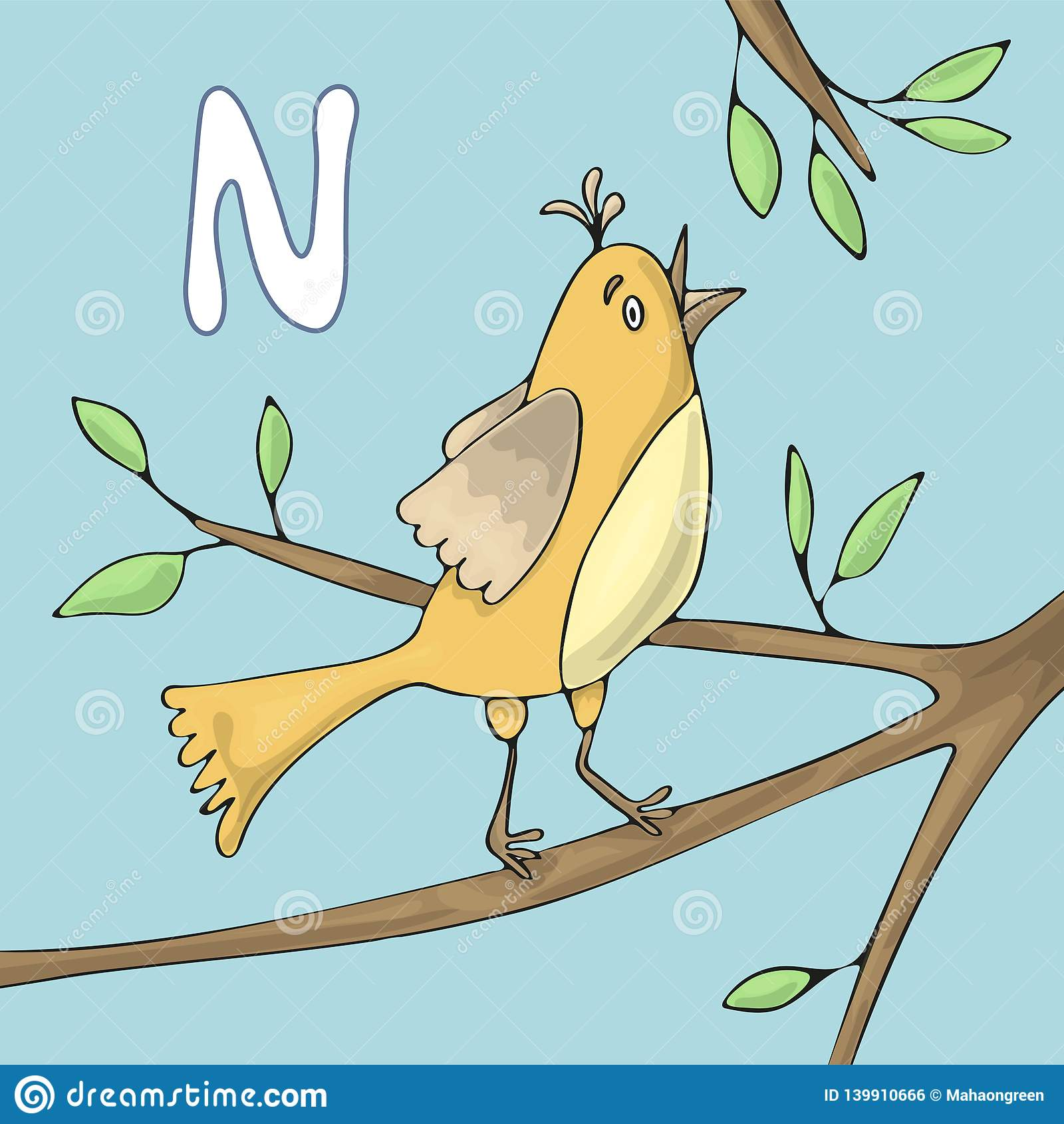 Illustrerad alfabetbokstav N och näktergal Tecknad film för vektor för abcbokbild Näktergalet sjunger på en trädfilial