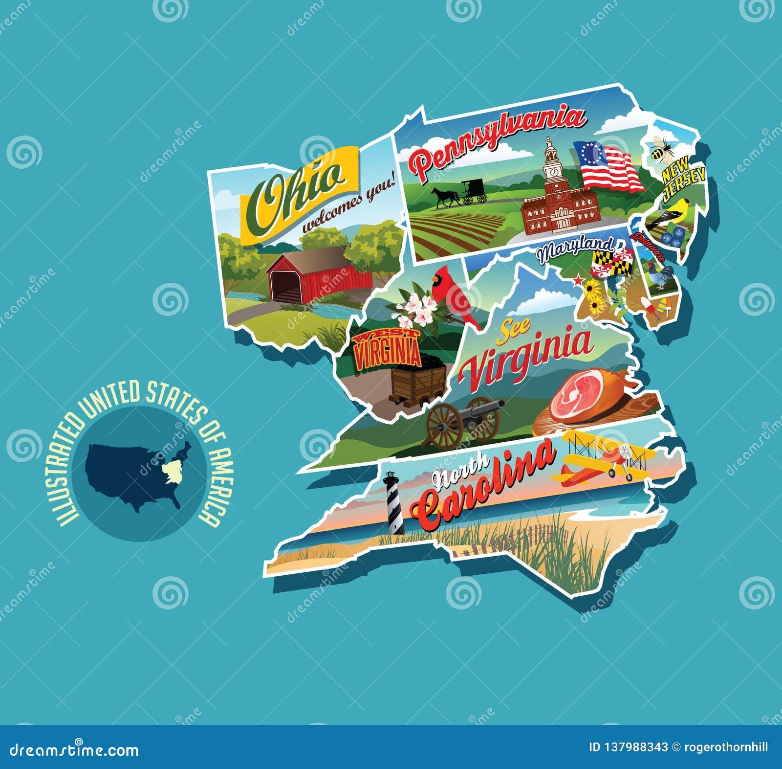 Illustrerad bildmässig översikt av östlig Förenta staterna