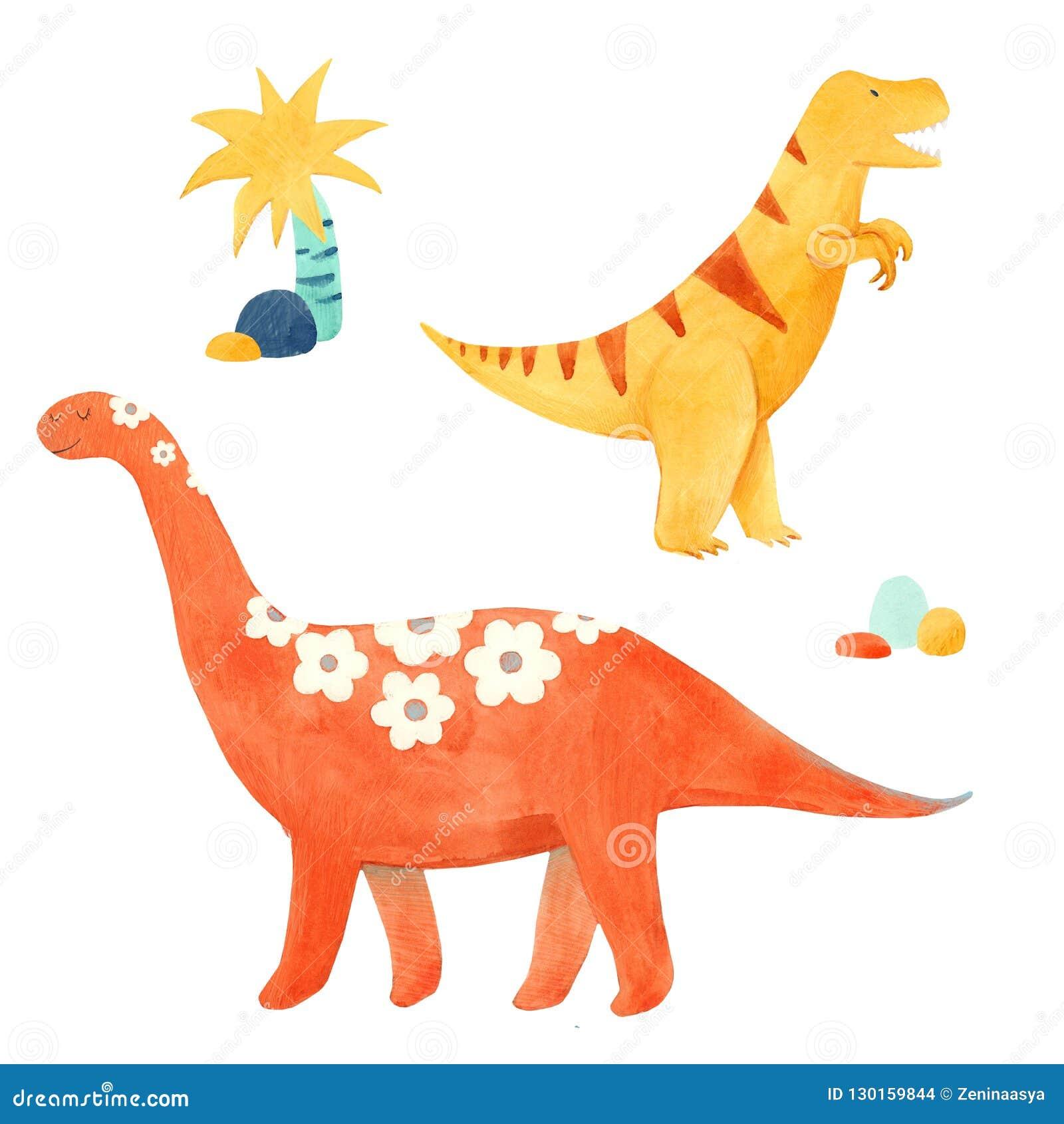 Illustrtion динозавра акварели