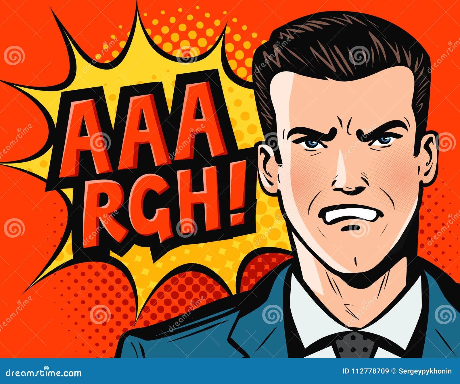 Ilsken affärsman eller man i affärsdräkt Retro komisk stil för popkonst den främmande tecknad filmkatten flyr illustrationtakvekt