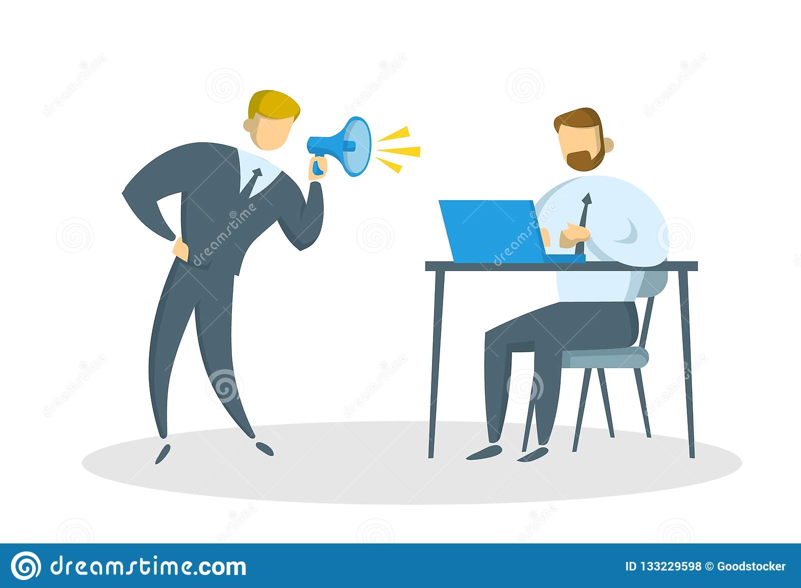 Ilsken affärsman med megafonen som ropar på chefen i kontoret Pennalism på arbete Plan vektorillustration isolerat