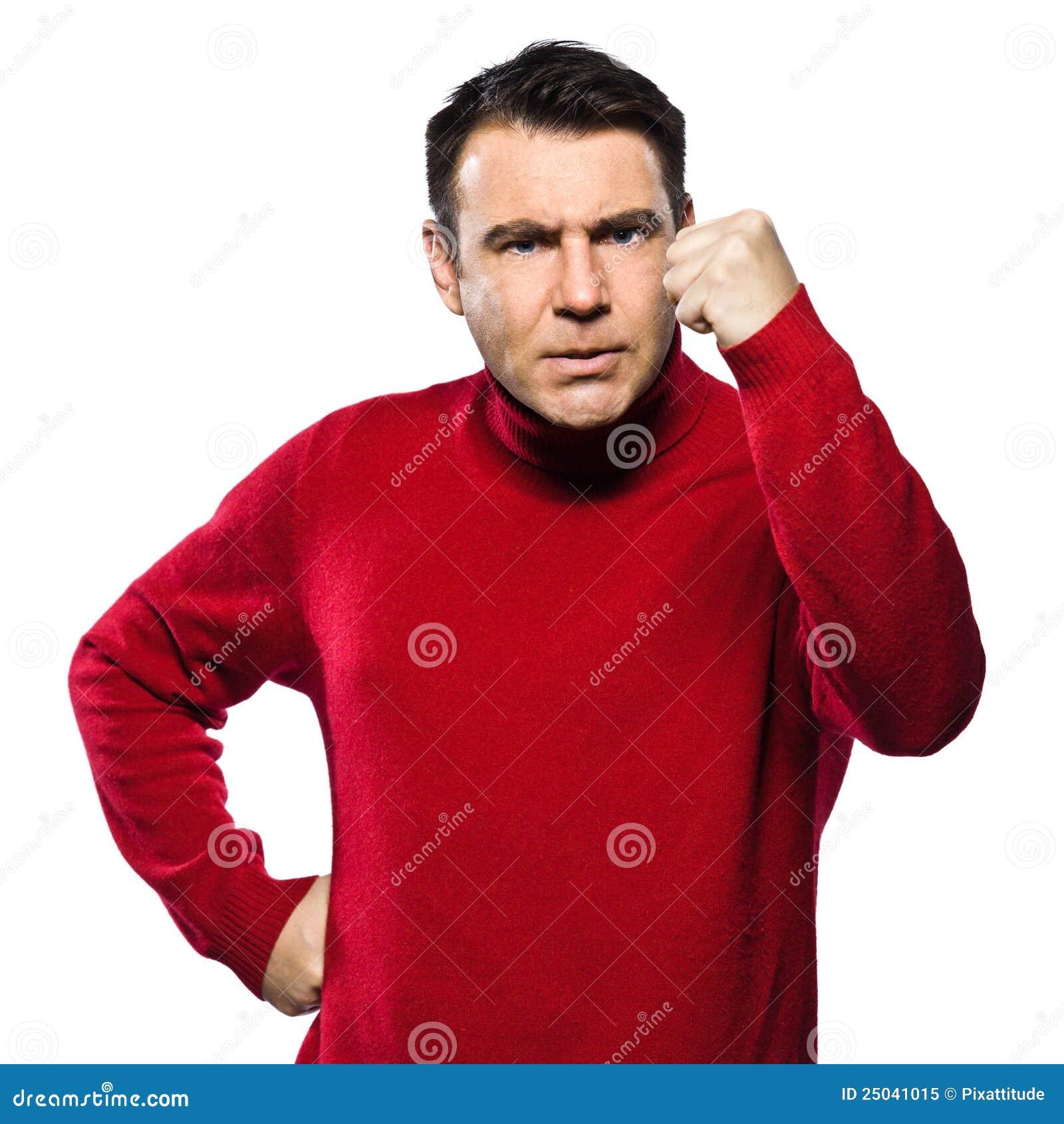 Ilsken caucasian göra en gest man