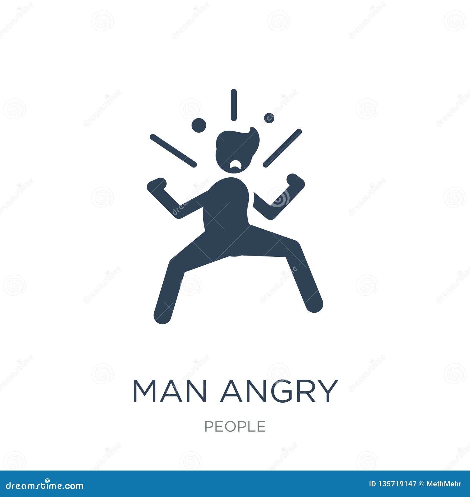 Ilsken symbol för man i moderiktig designstil ilsken symbol för man som isoleras på vit bakgrund för ilsken enkel och modern läge