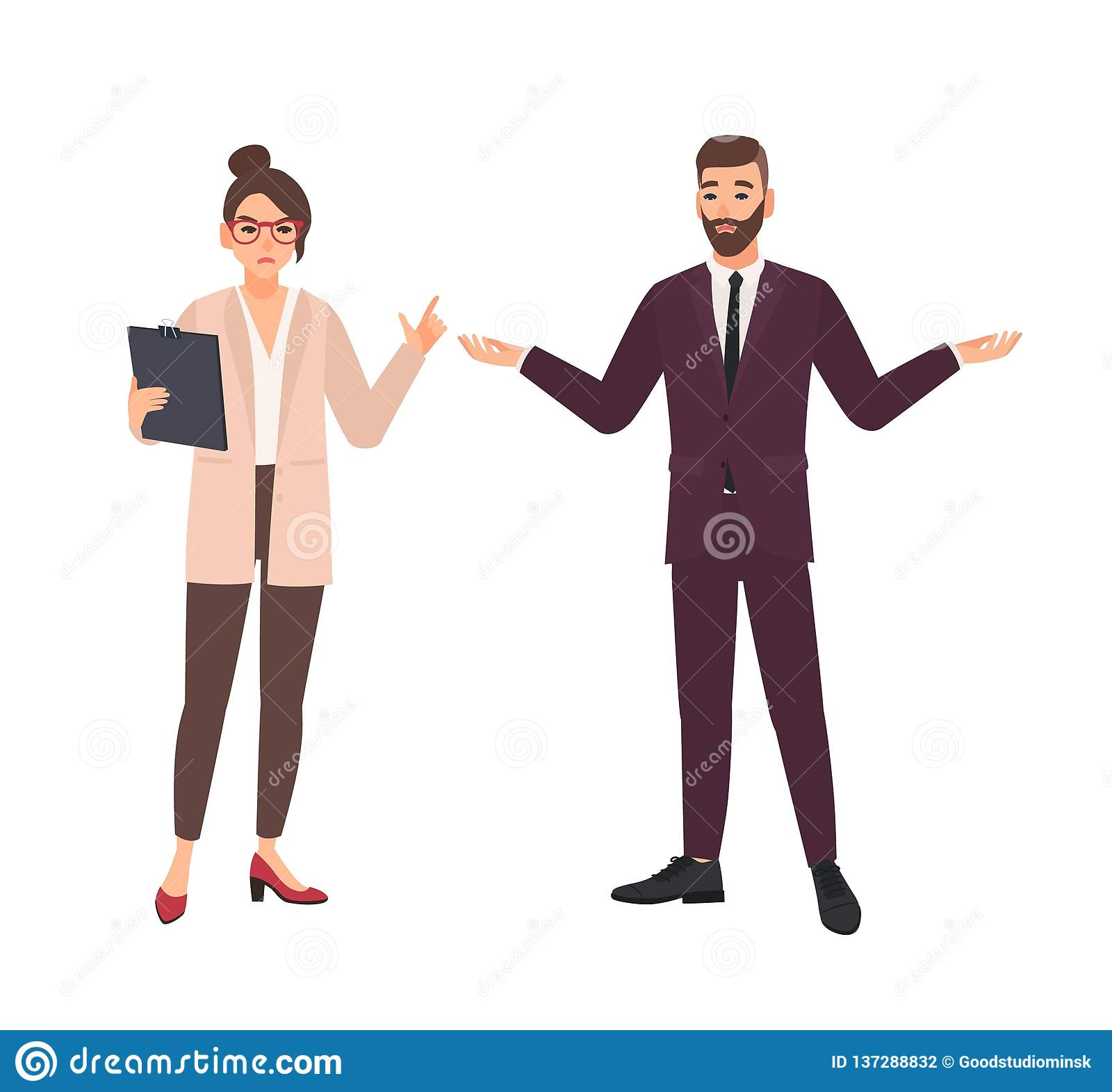 Ilsket kvinnligt framstickande och manlig anställd som gör isolerade ursäkter på vit bakgrund Rasande kritisera för chef eller fö