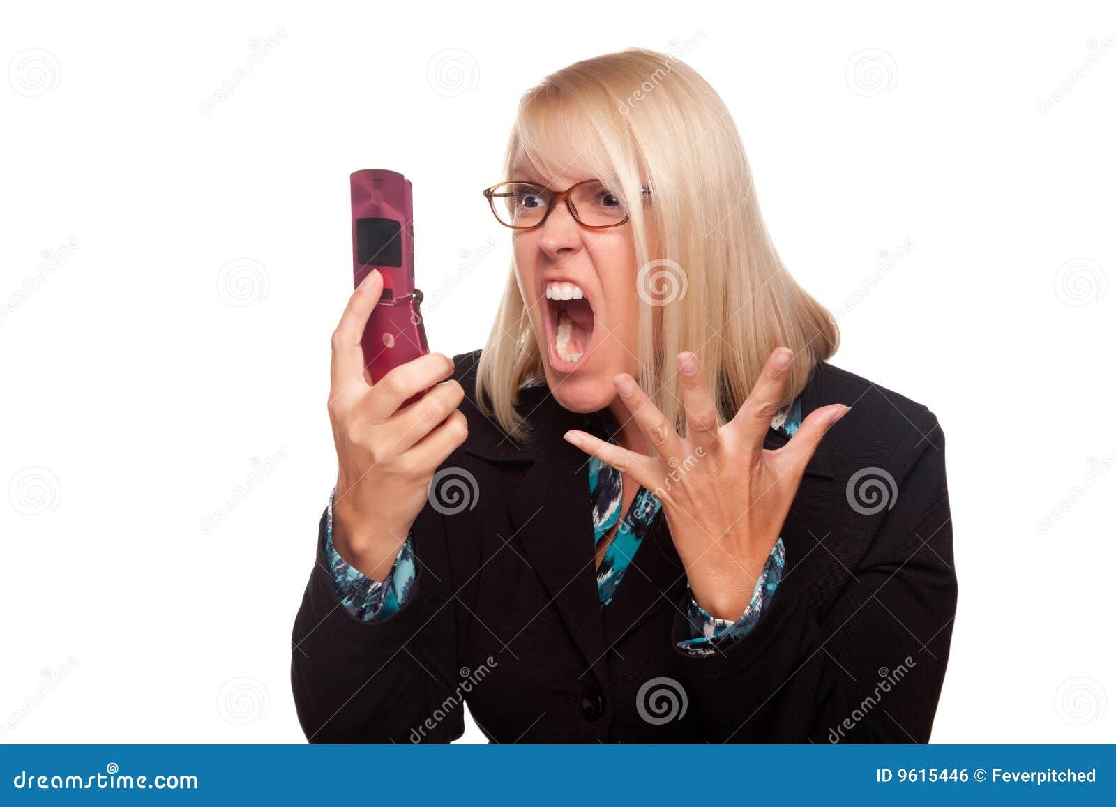 Ilskna skrän för kvinna för celltelefon