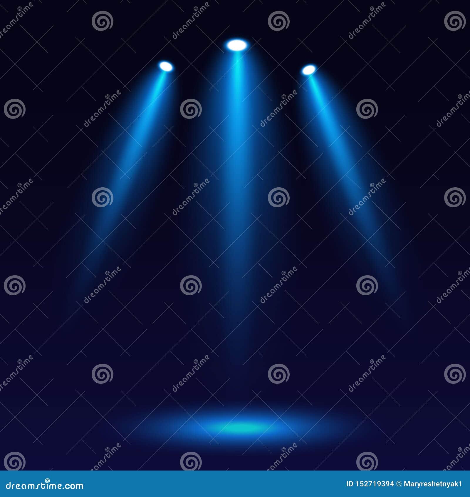 Iluminação da cena, em um fundo escuro Iluminação brilhante com três projetores Projetor na fase para o projeto do Web site Vetor
