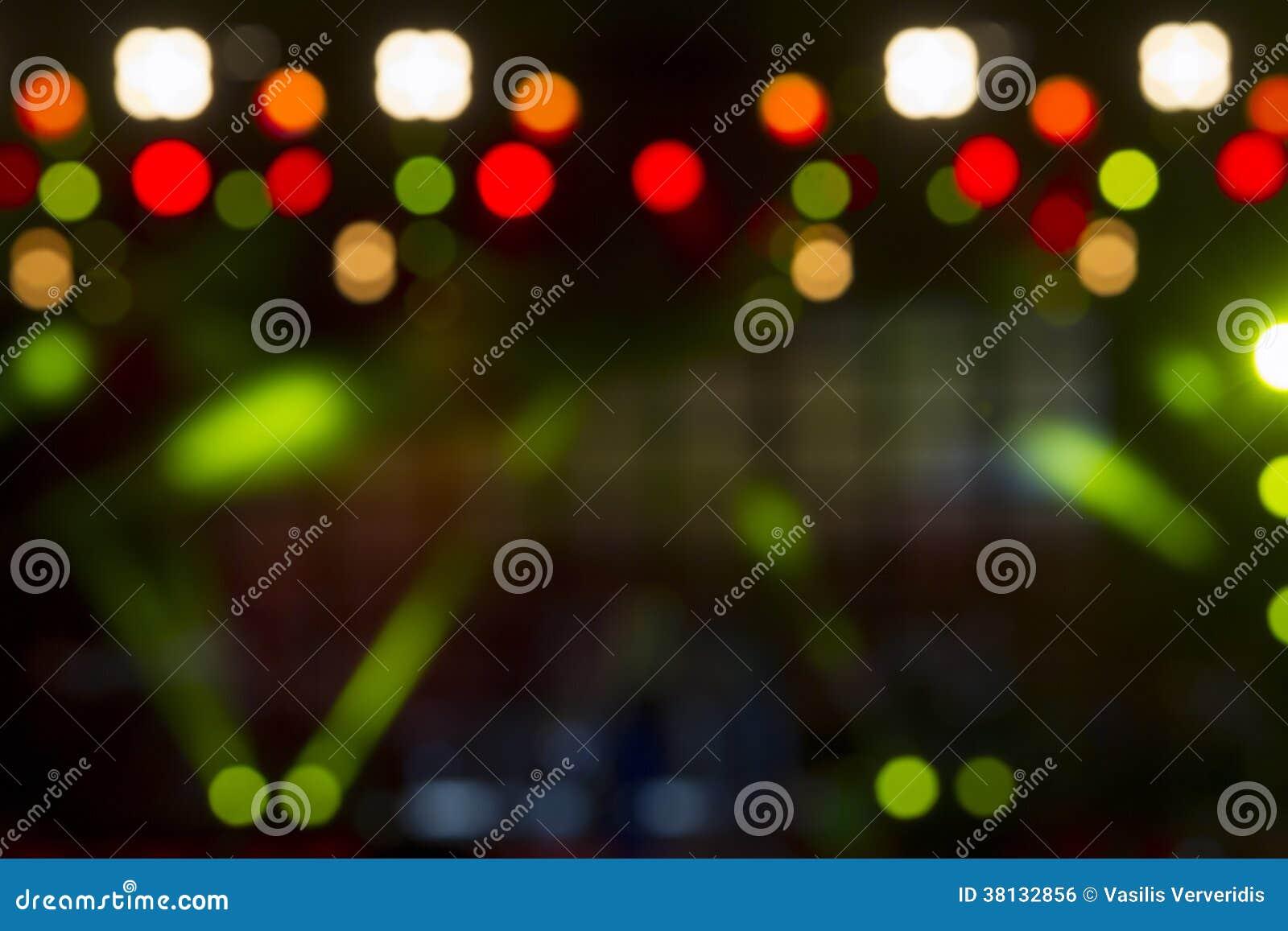 Iluminação Defocused do concerto do entretenimento na fase, bokeh