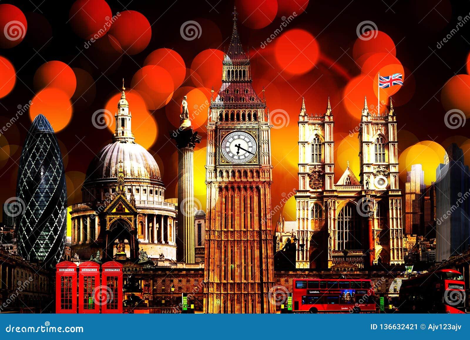 Iluminação em construções do marco da skyline de Londres