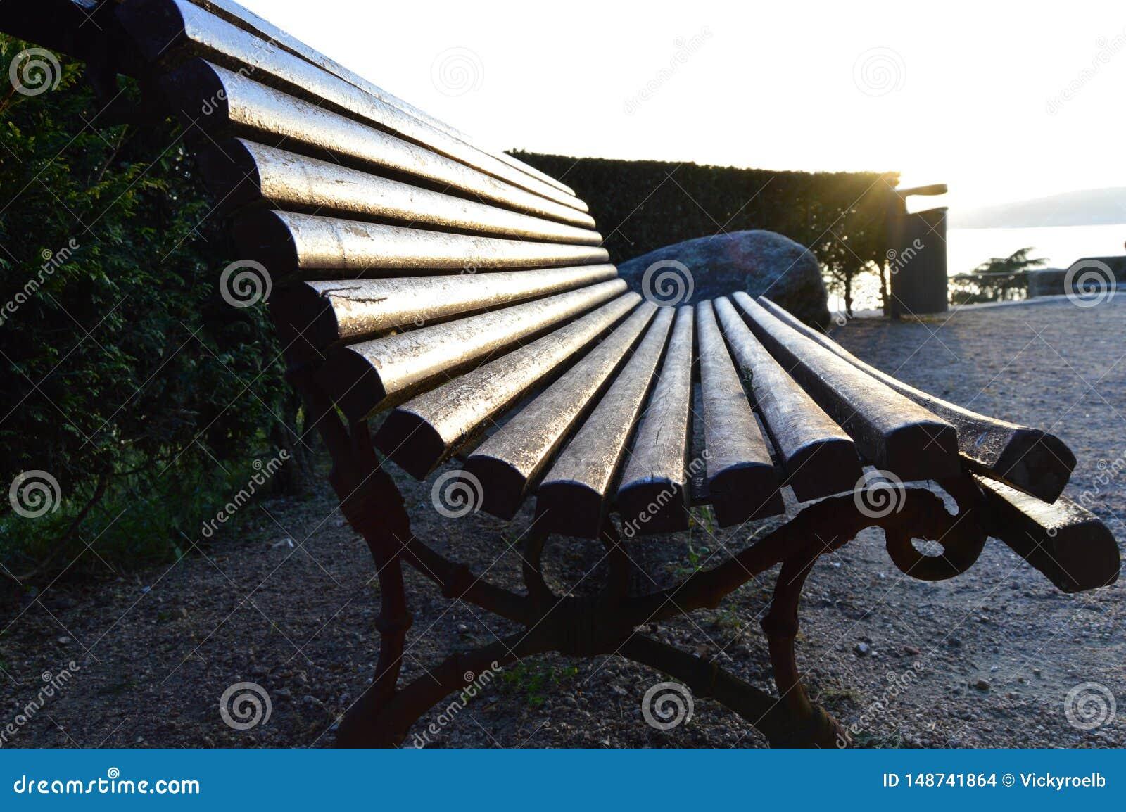 Iluminated single bench background vintage