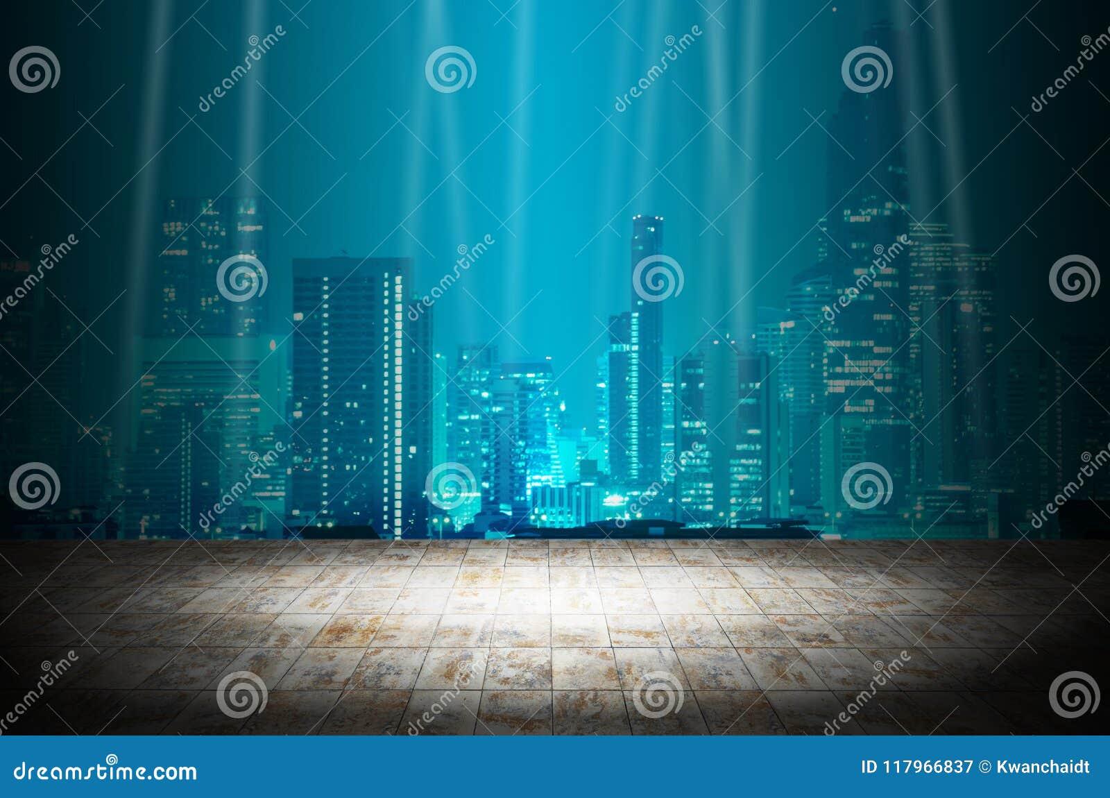 Ilumine na sala escura com fundo moderno da construção da cidade da noite