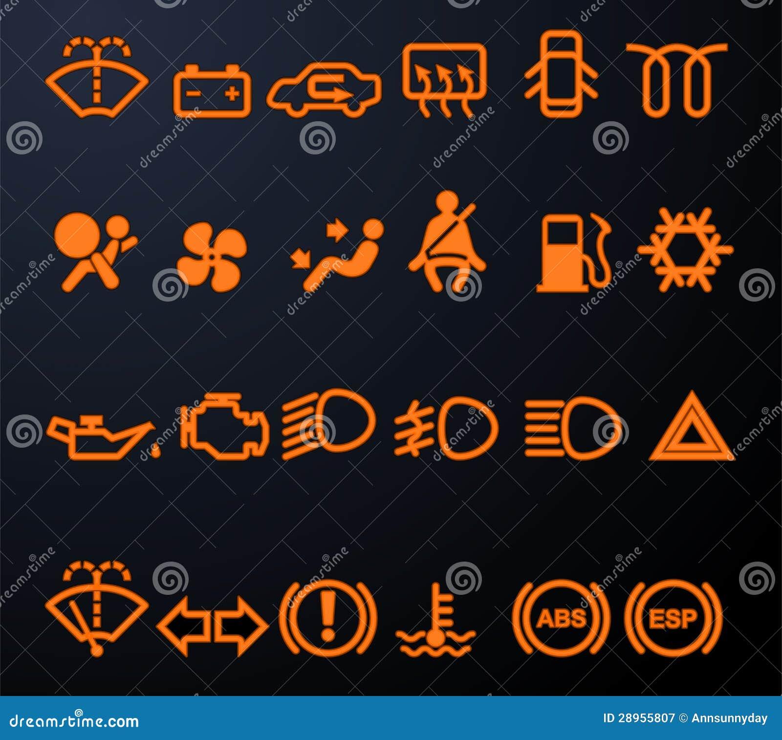 Iluminować samochodowe desek rozdzielczych ikony